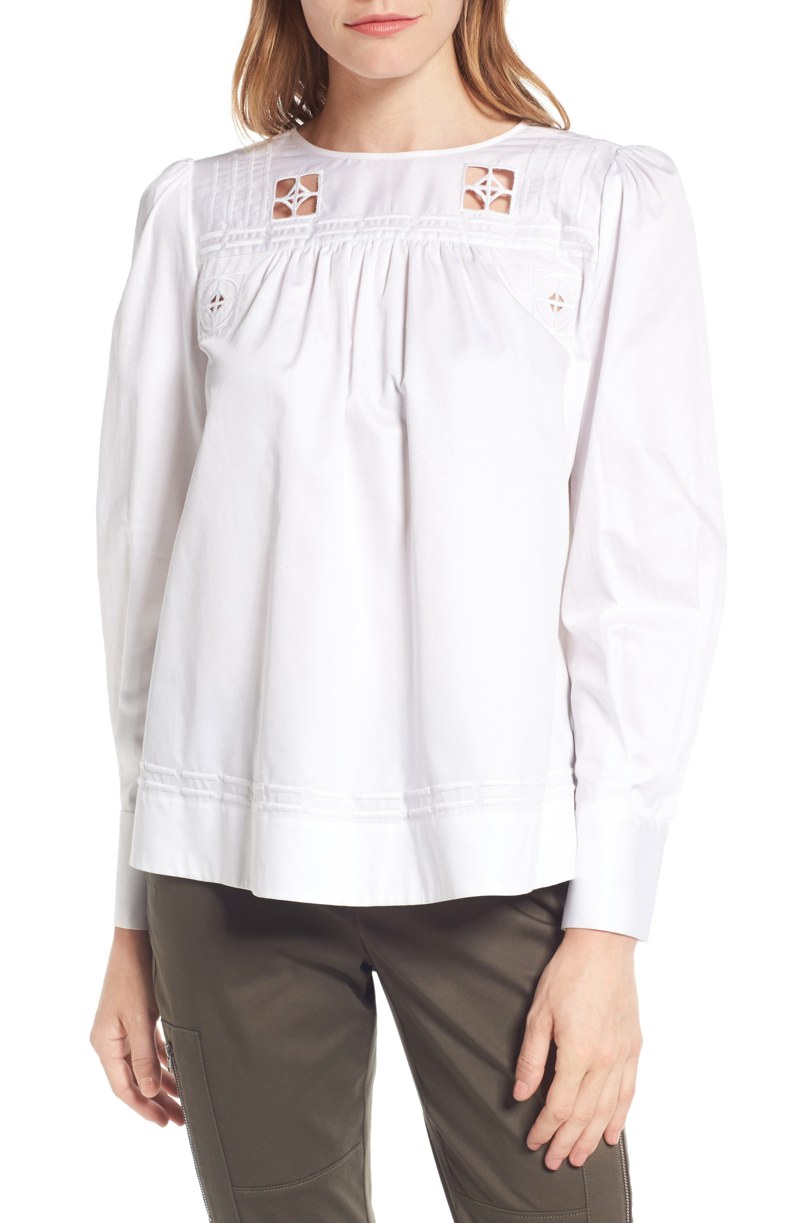 Nordstrom Signature Embroidered Sateen Cotton Top