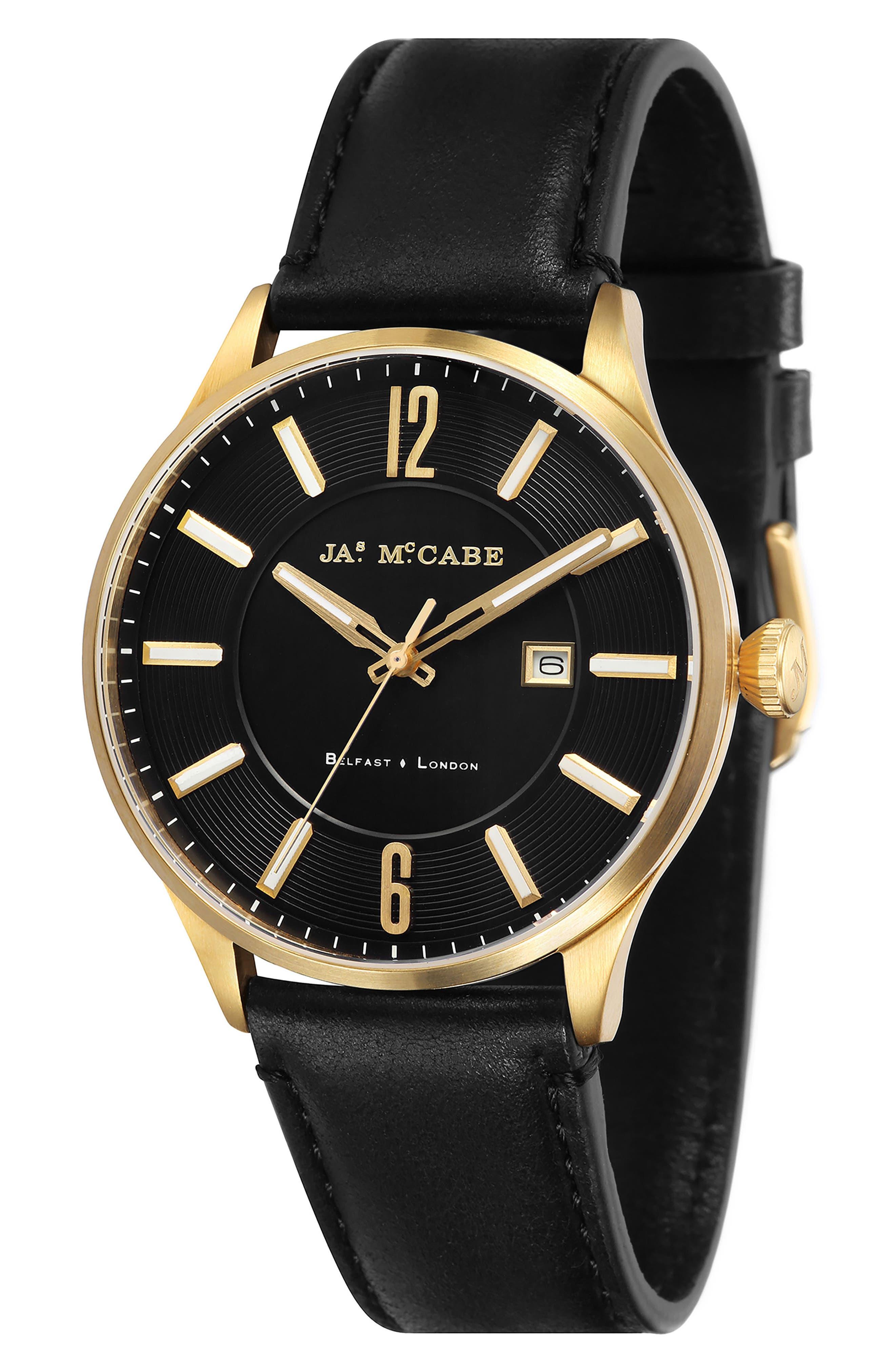 James McCabe New Belfast Slim Leather Strap Watch, 44mm