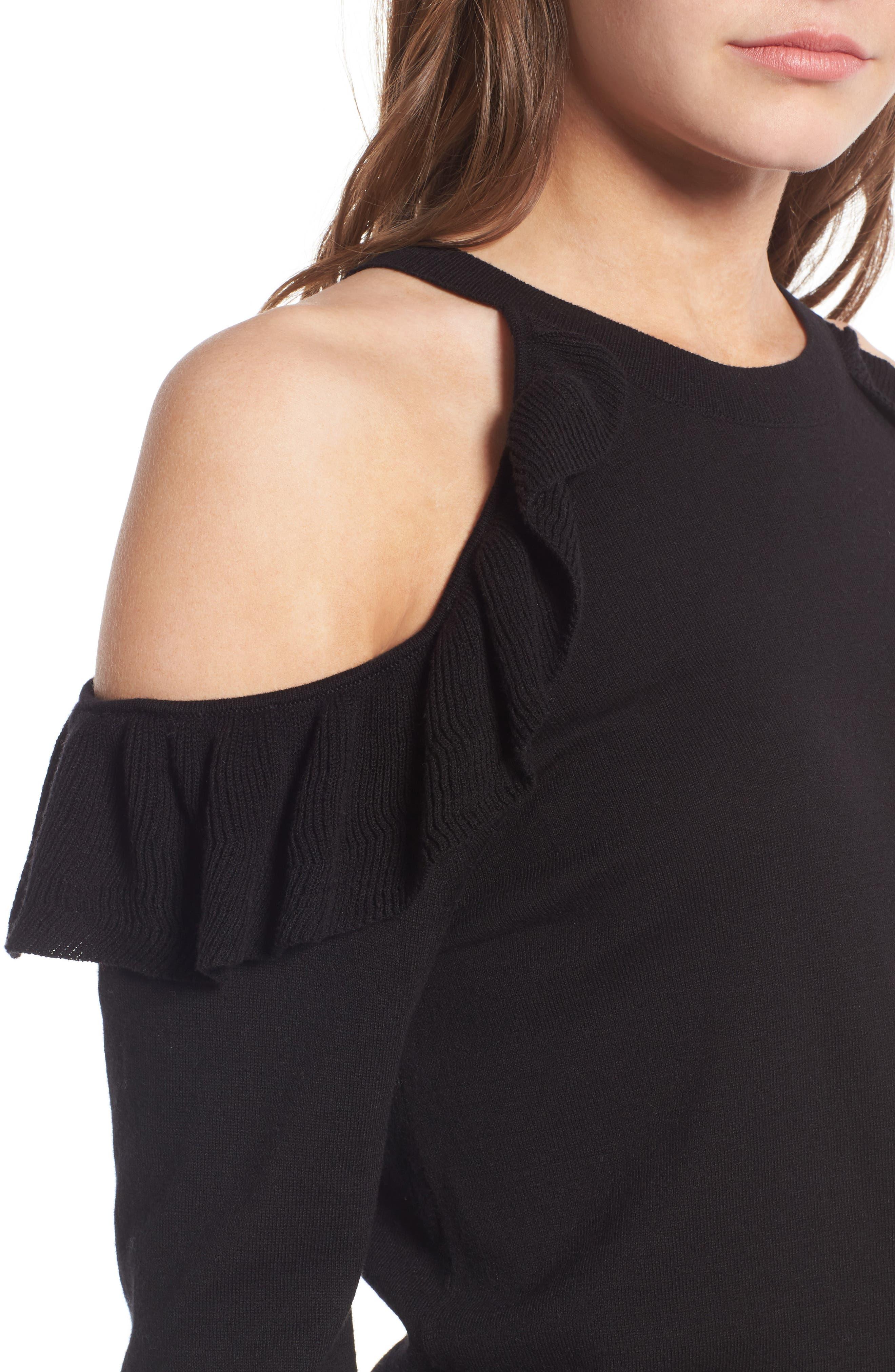 Alternate Image 4  - BP. Ruffle Cold Shoulder Pullover