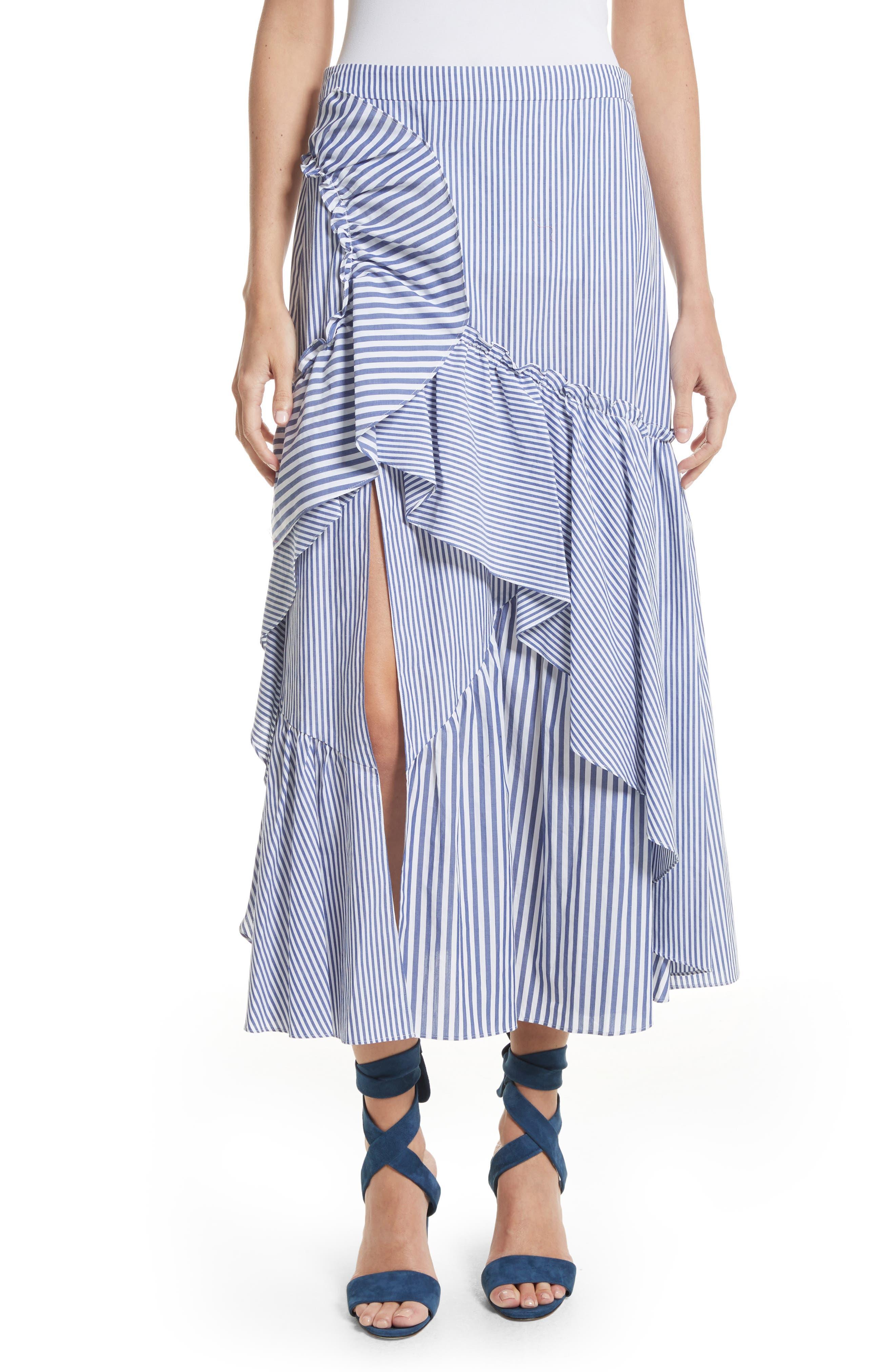 Tanya Taylor Jules Menswear Stripe Skirt