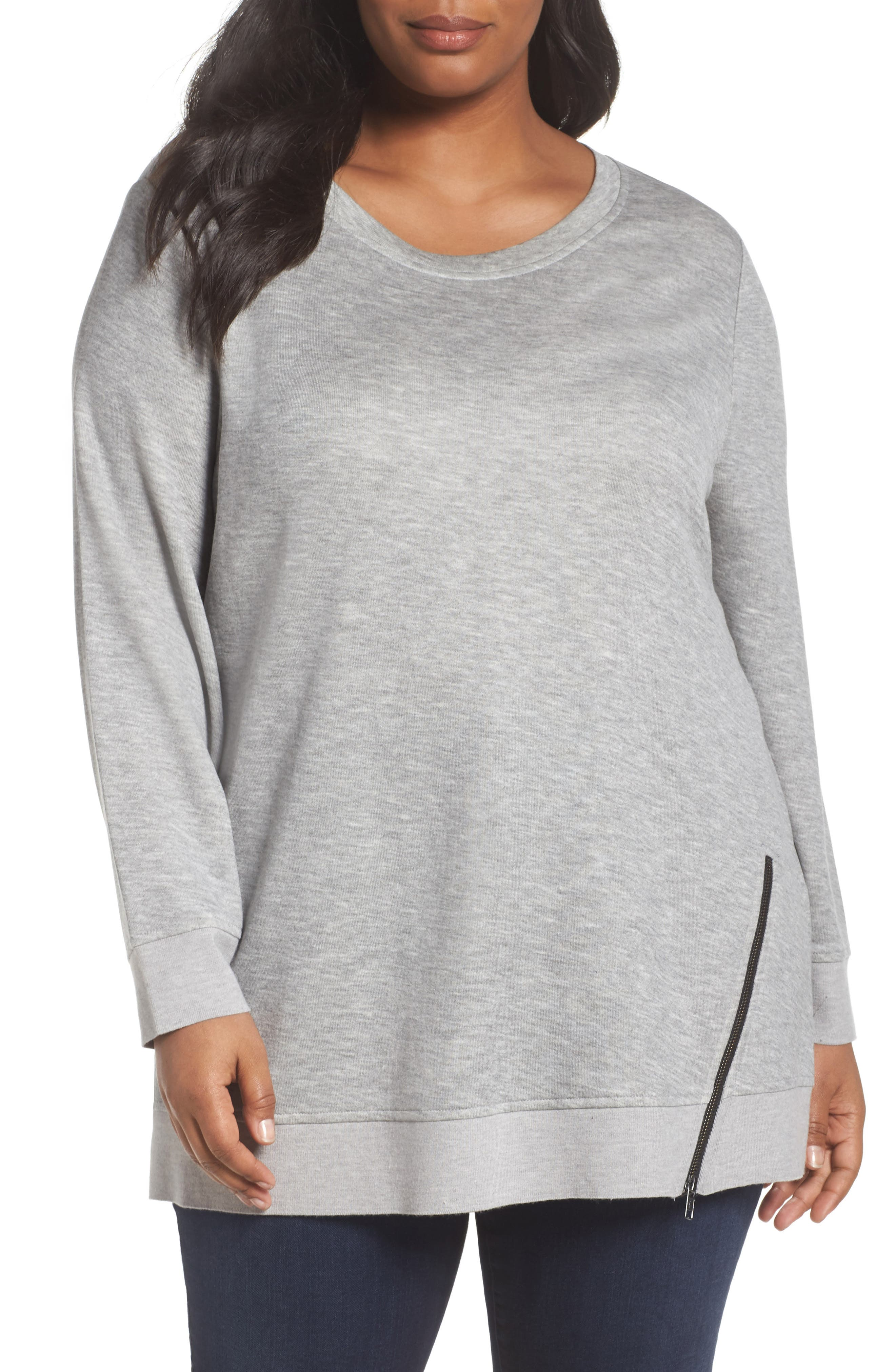 Sejour Zip Hem Sweatshirt (Plus Size)