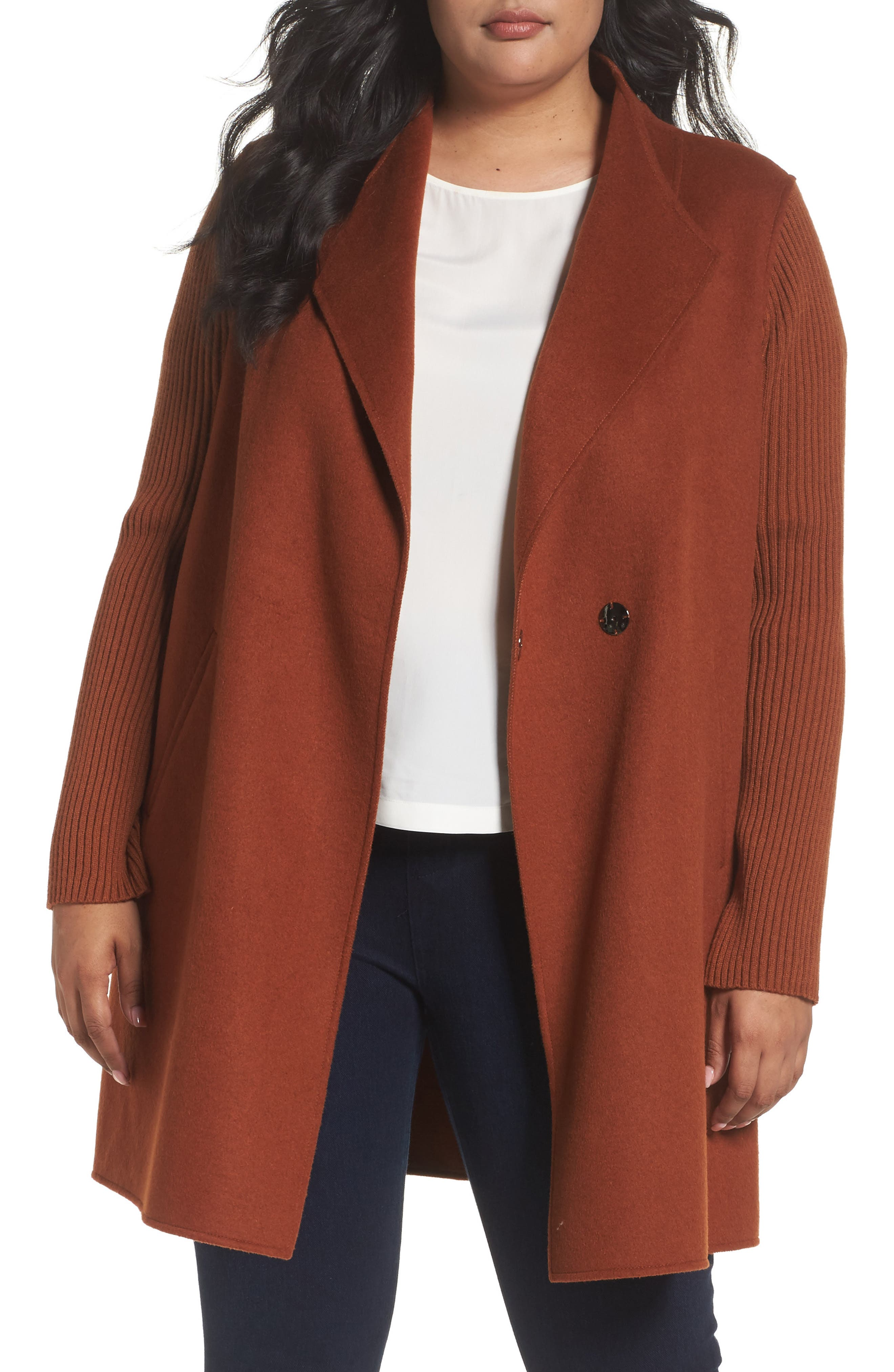 Kenneth Cole New York Double Face Coat (Plus Size)