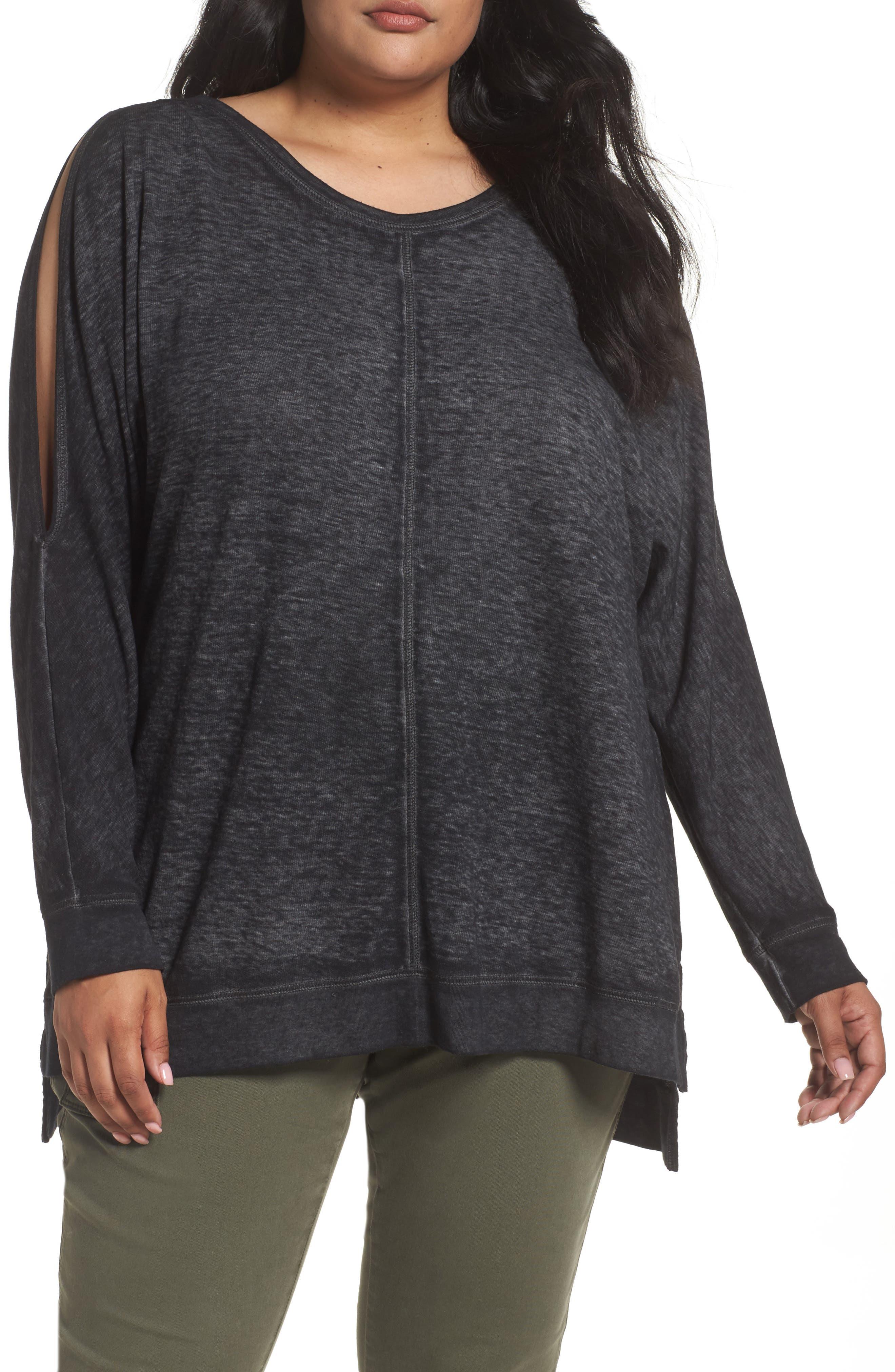 Caslon® Cold Shoulder Burnout Sweatshirt (Plus Size)