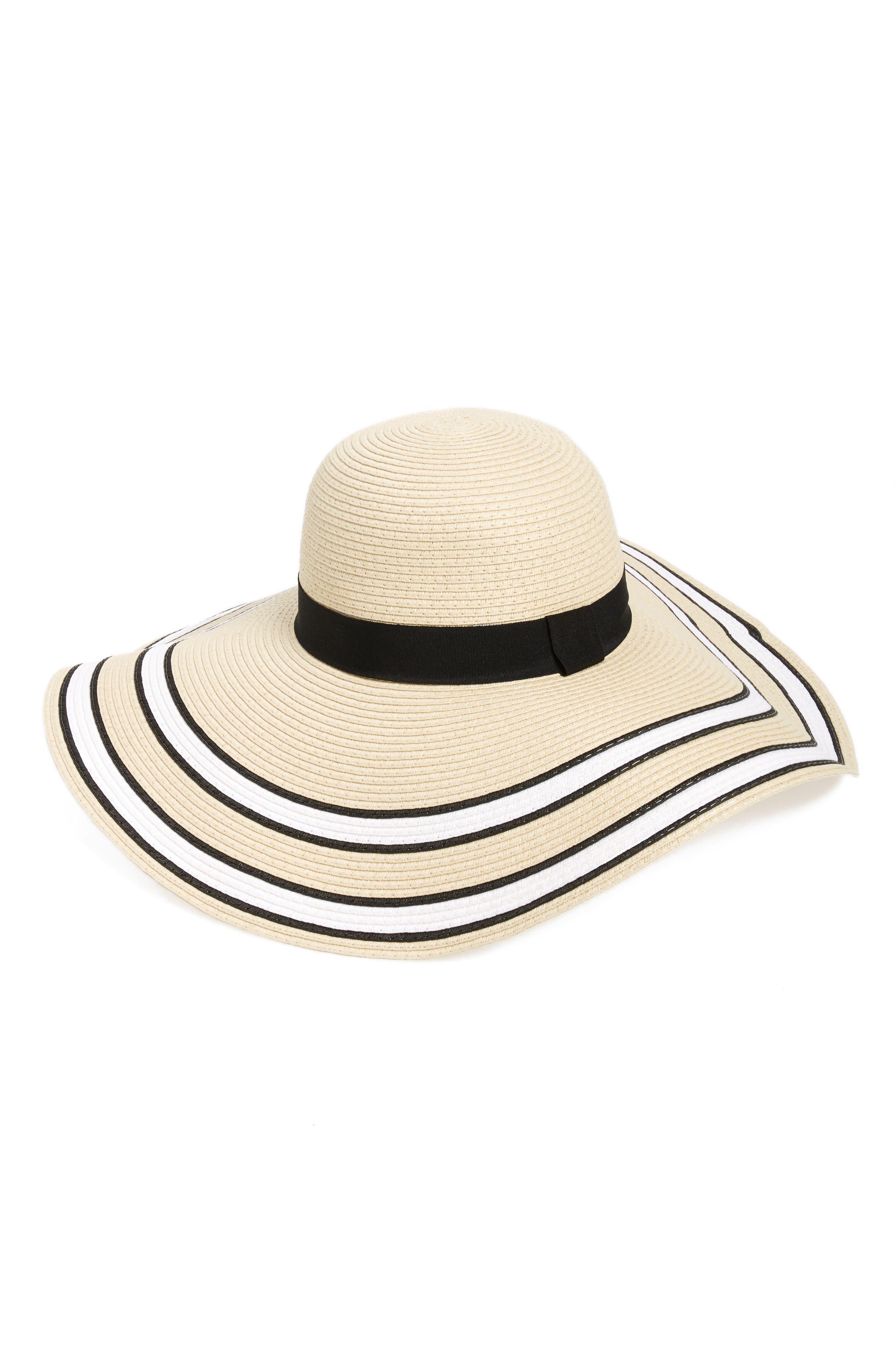 Main Image - BP. Stripe Floppy Brim Straw Hat