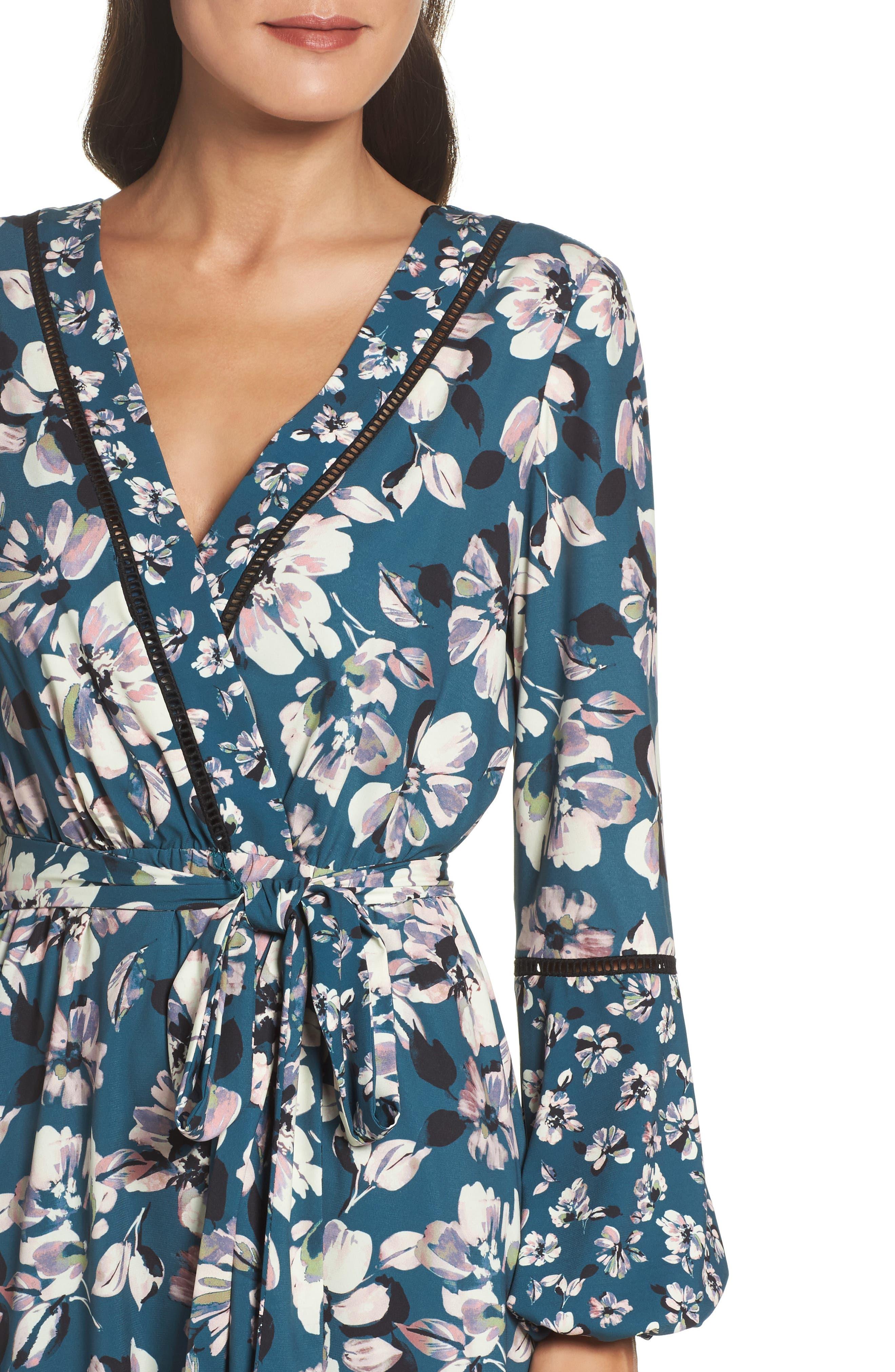 Alternate Image 5  - Eliza J Print Bell Sleeve Faux Wrap Dress (Regular & Petite)