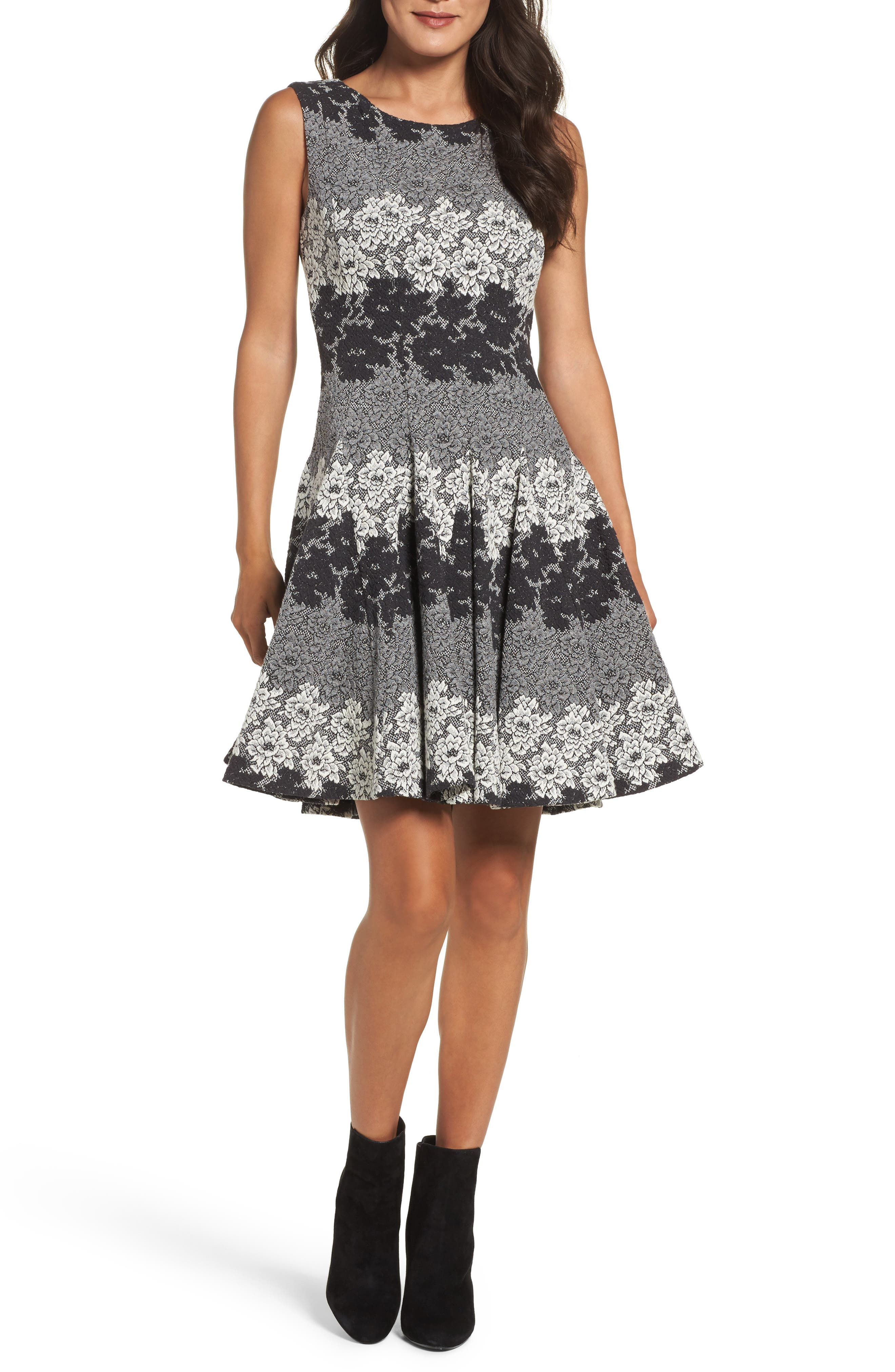 Eliza J Jacquard Fit & Flare Dress (Regular & Petite)