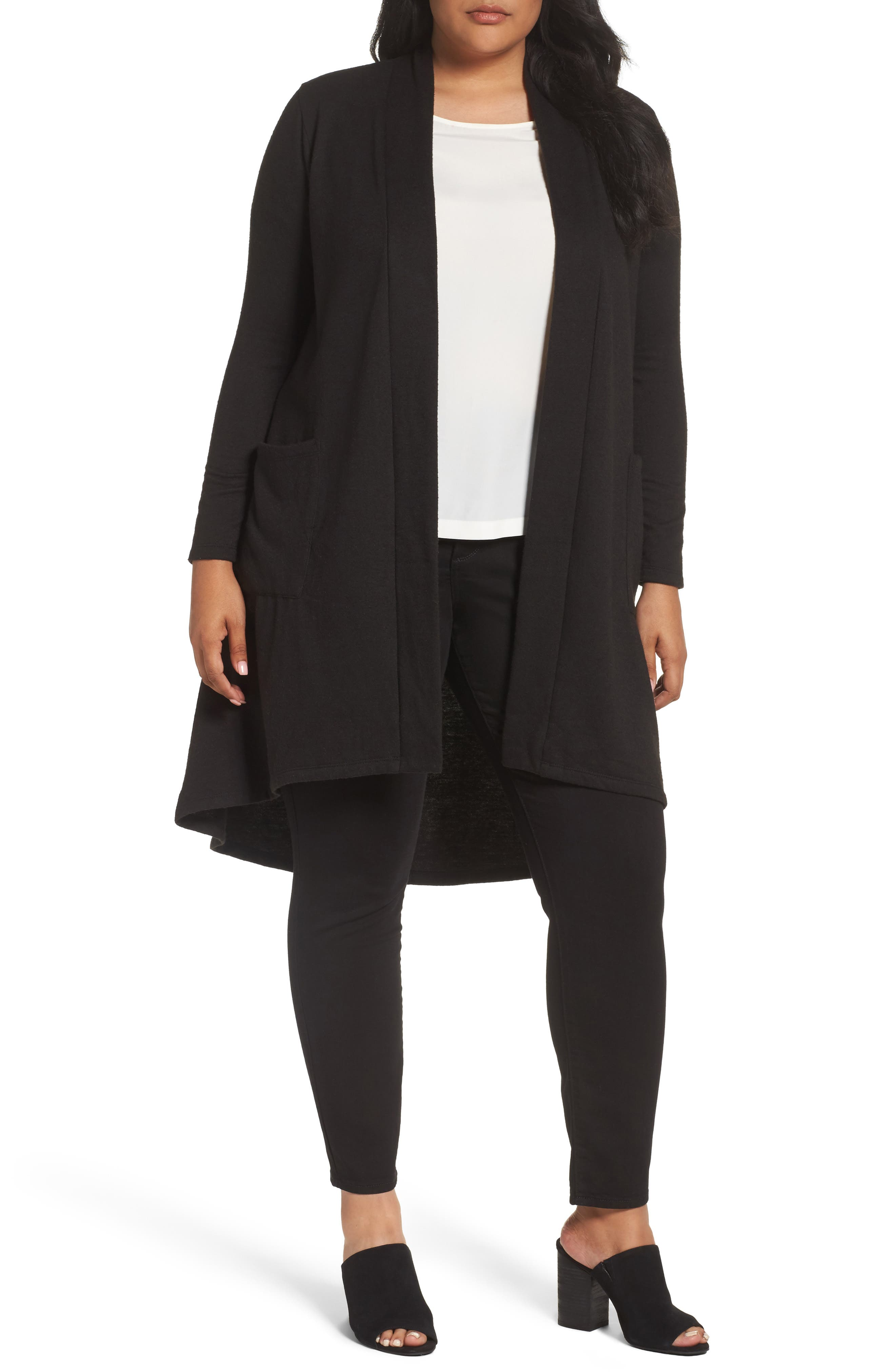 Bobeau High/Low Long Fleece Cardigan (Plus Size)