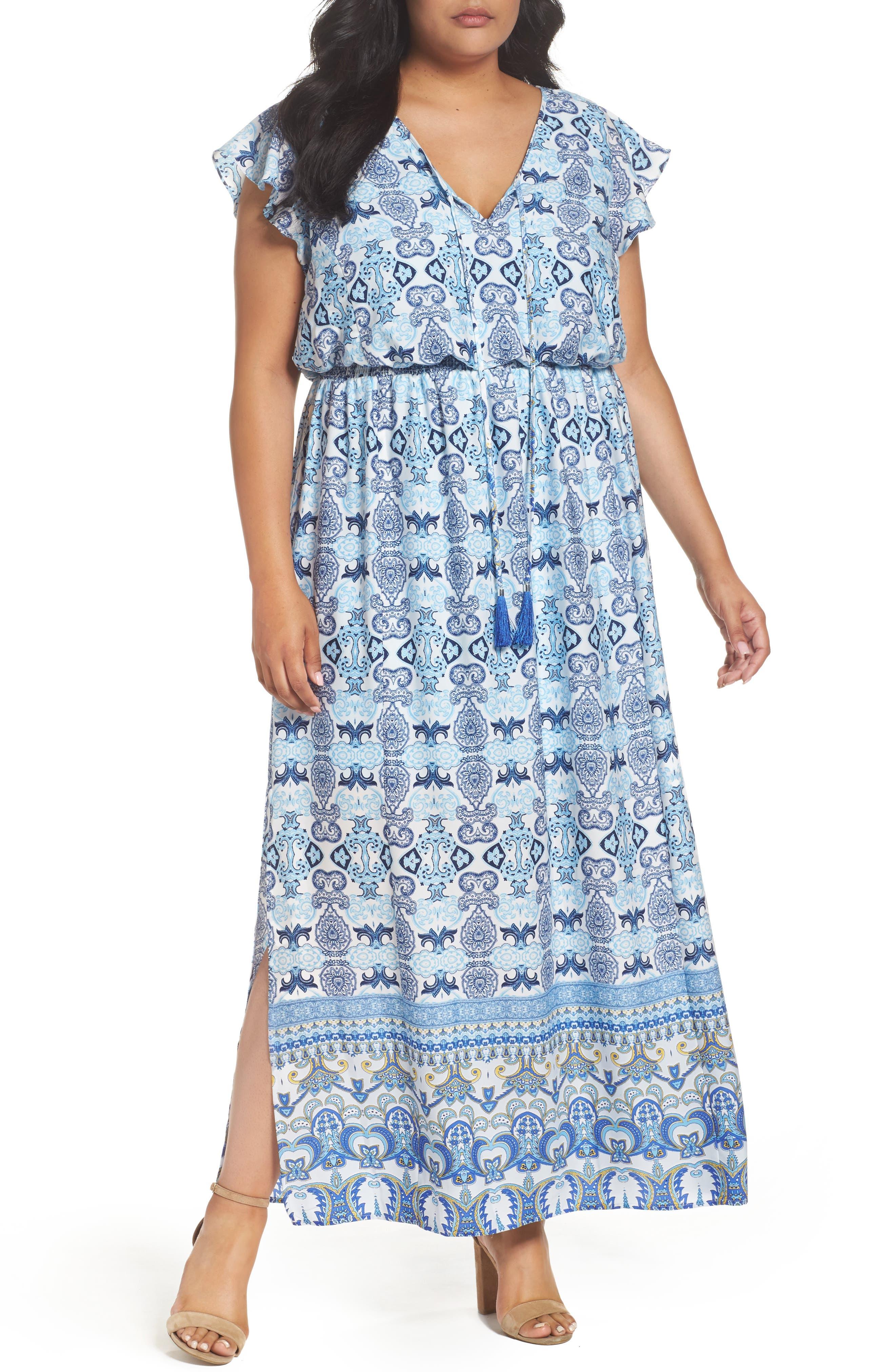 Adrianna Papell Paisley Maxi Dress (Plus Size)