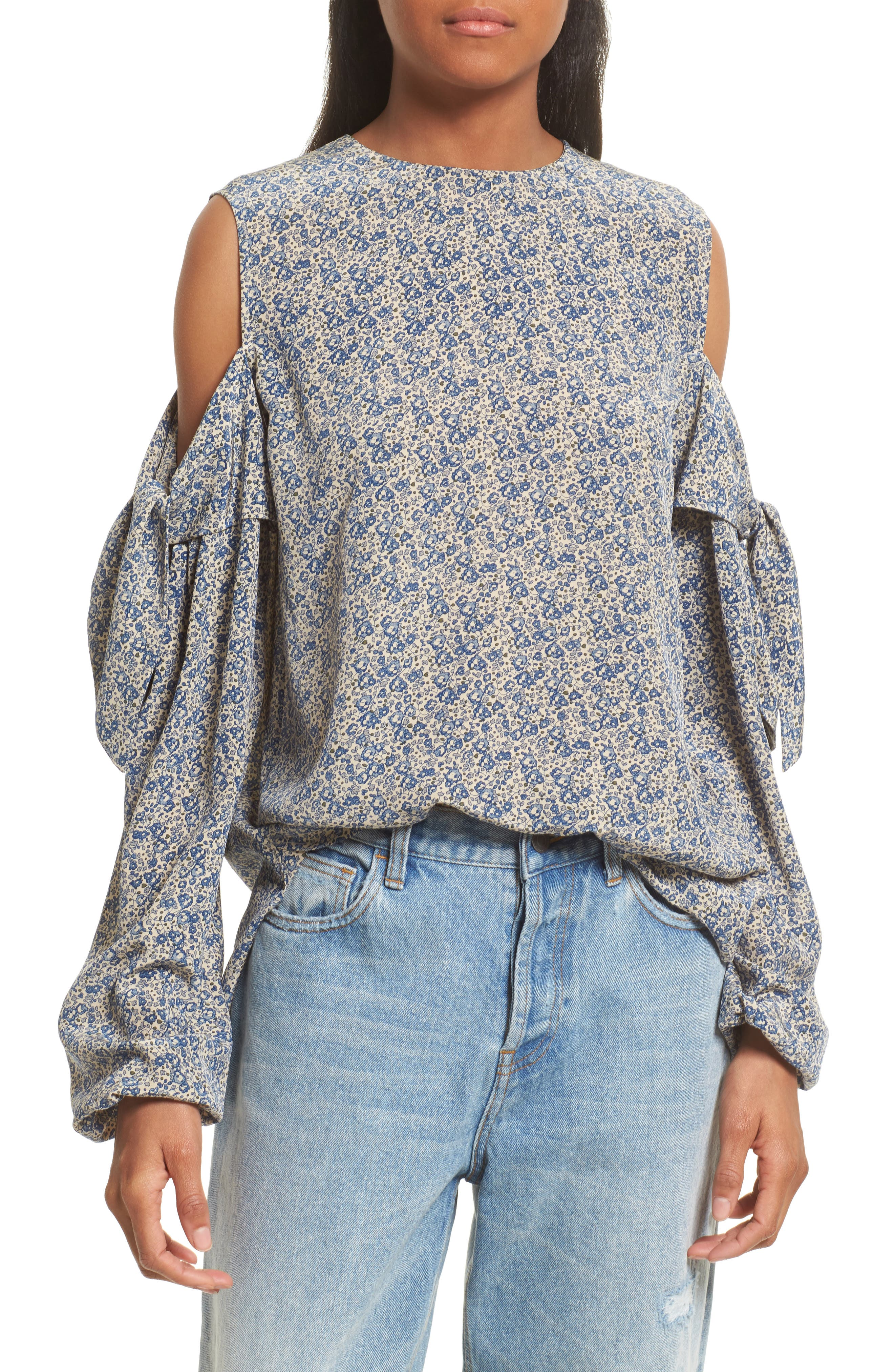 Robert Rodriguez Floral Print Cold Shoulder Silk Top