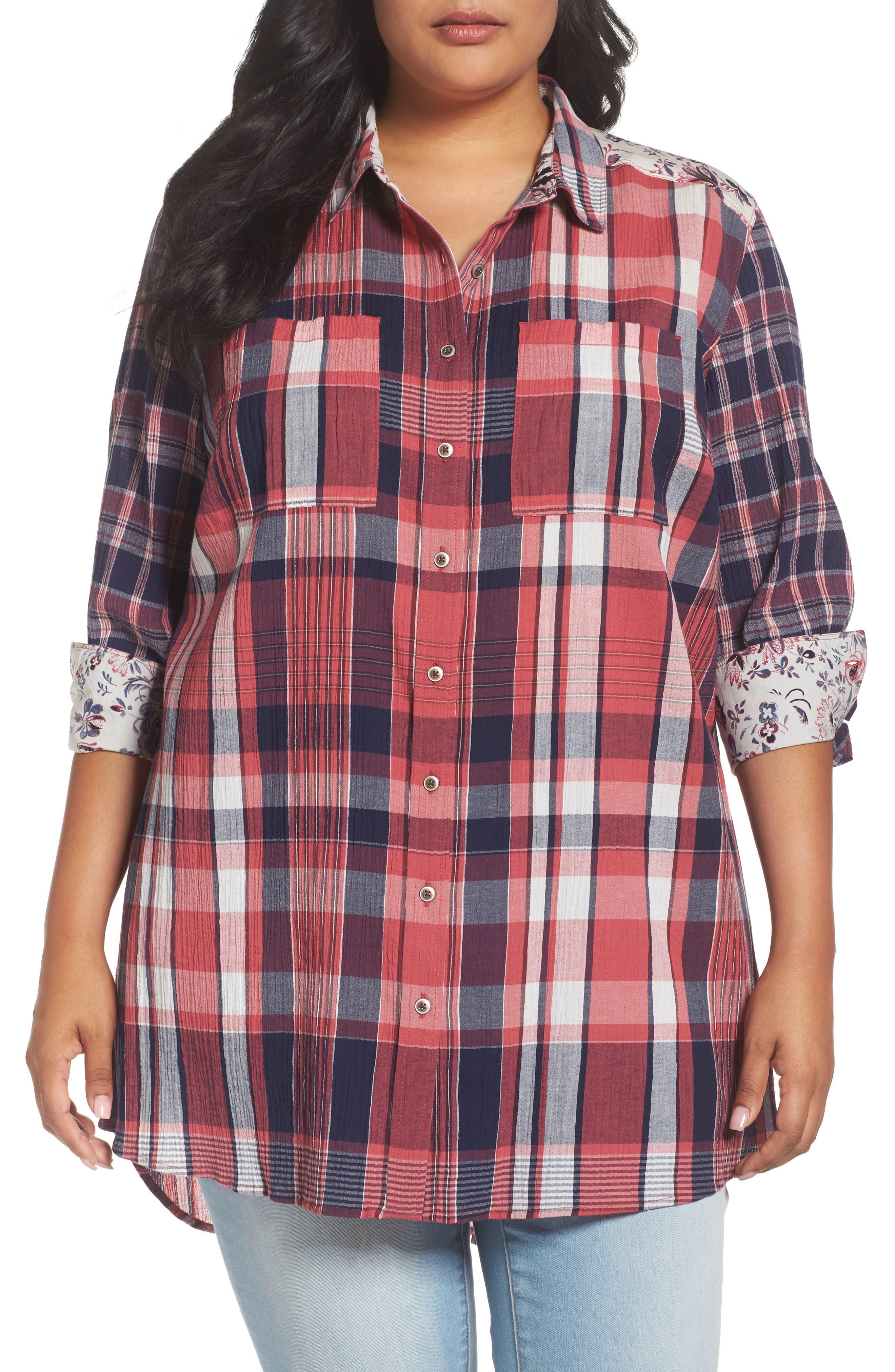 Caslon® Mix Plaid Floral Print Tunic (Plus Size)