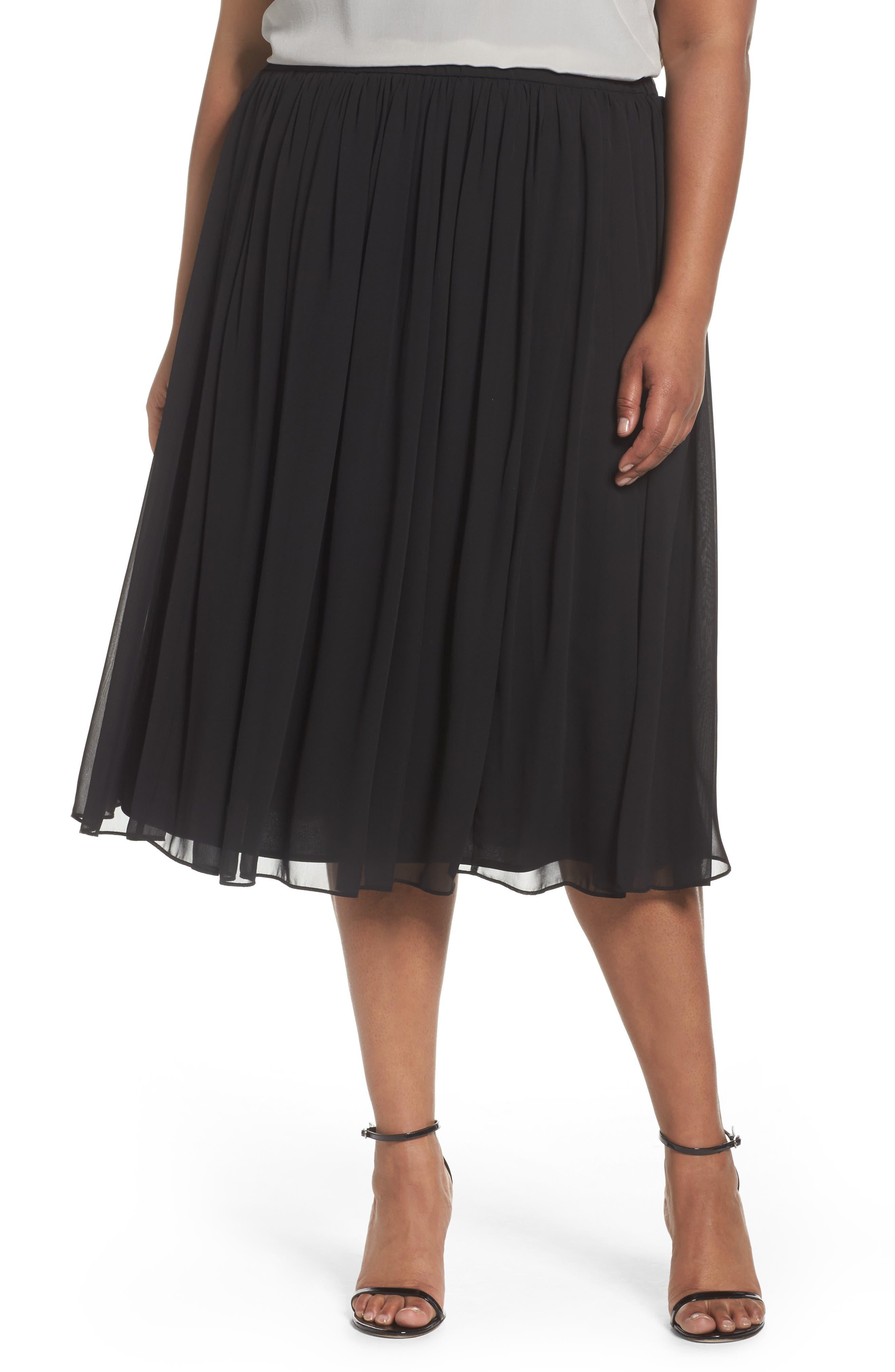 Alex Evenings Chiffon Midi Skirt (Plus Size)