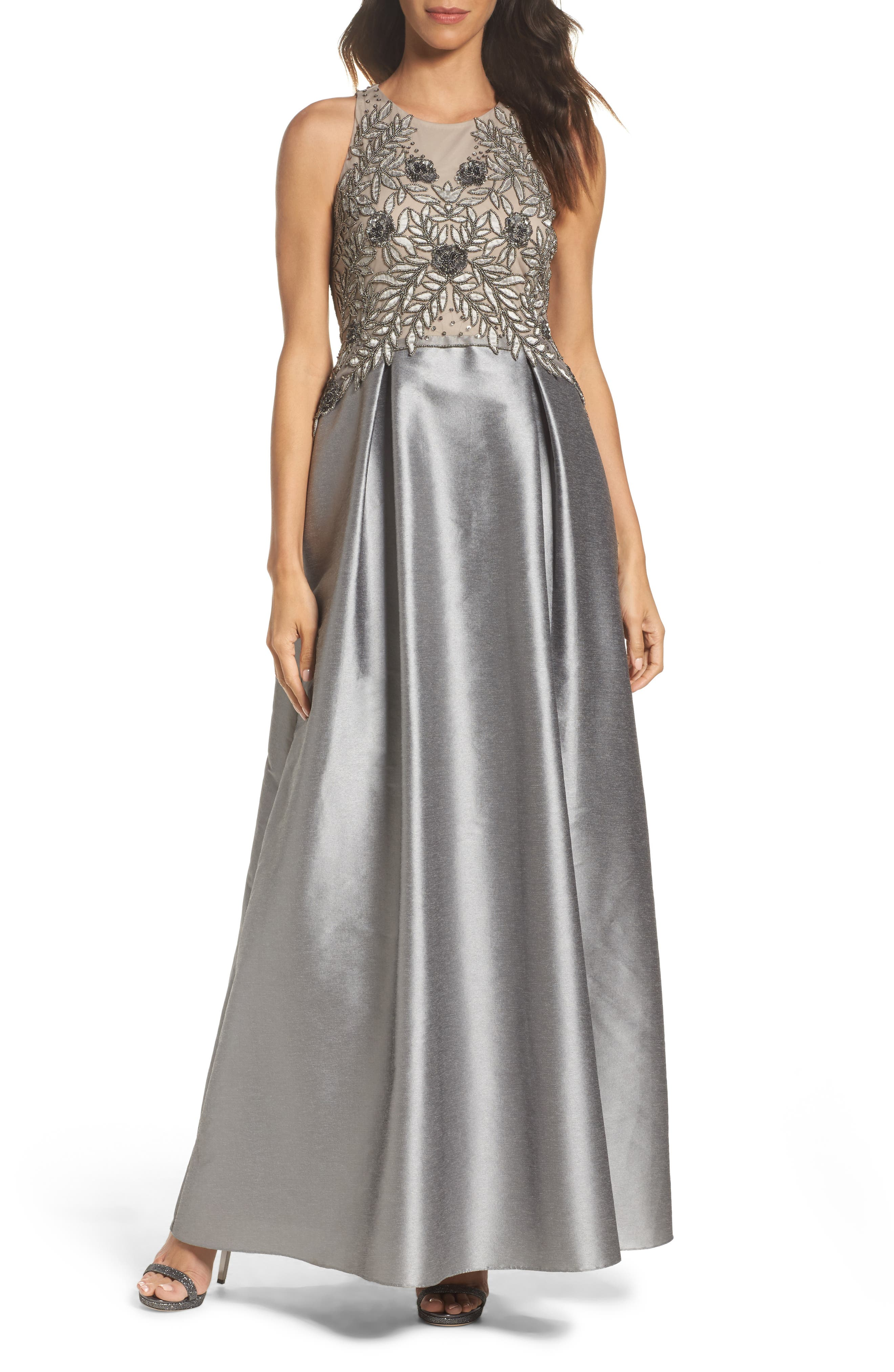 Adrianna Papell Embellished Mesh & Faille Ballgown