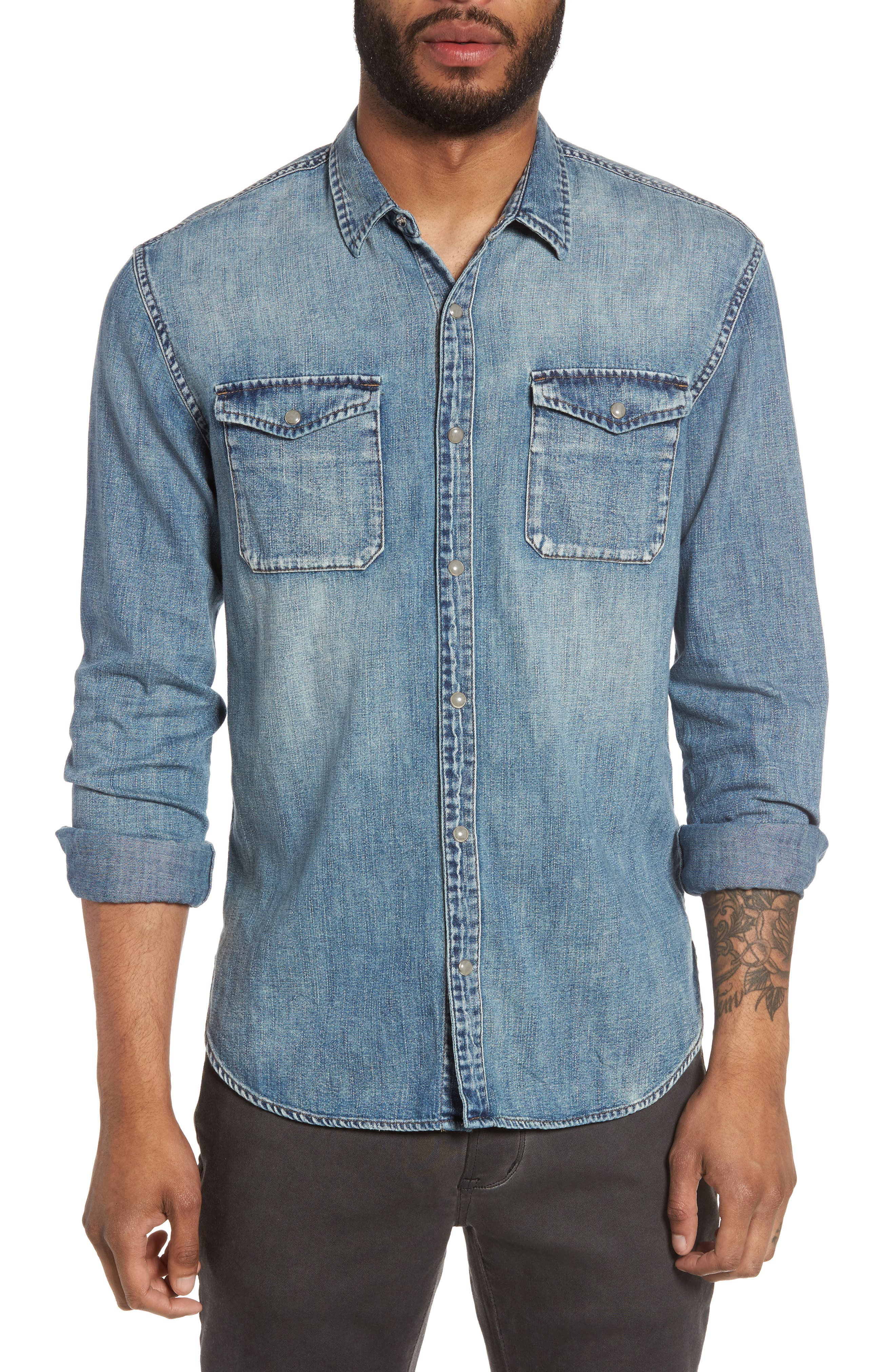 John Varvatos Star USA Denim Western Shirt
