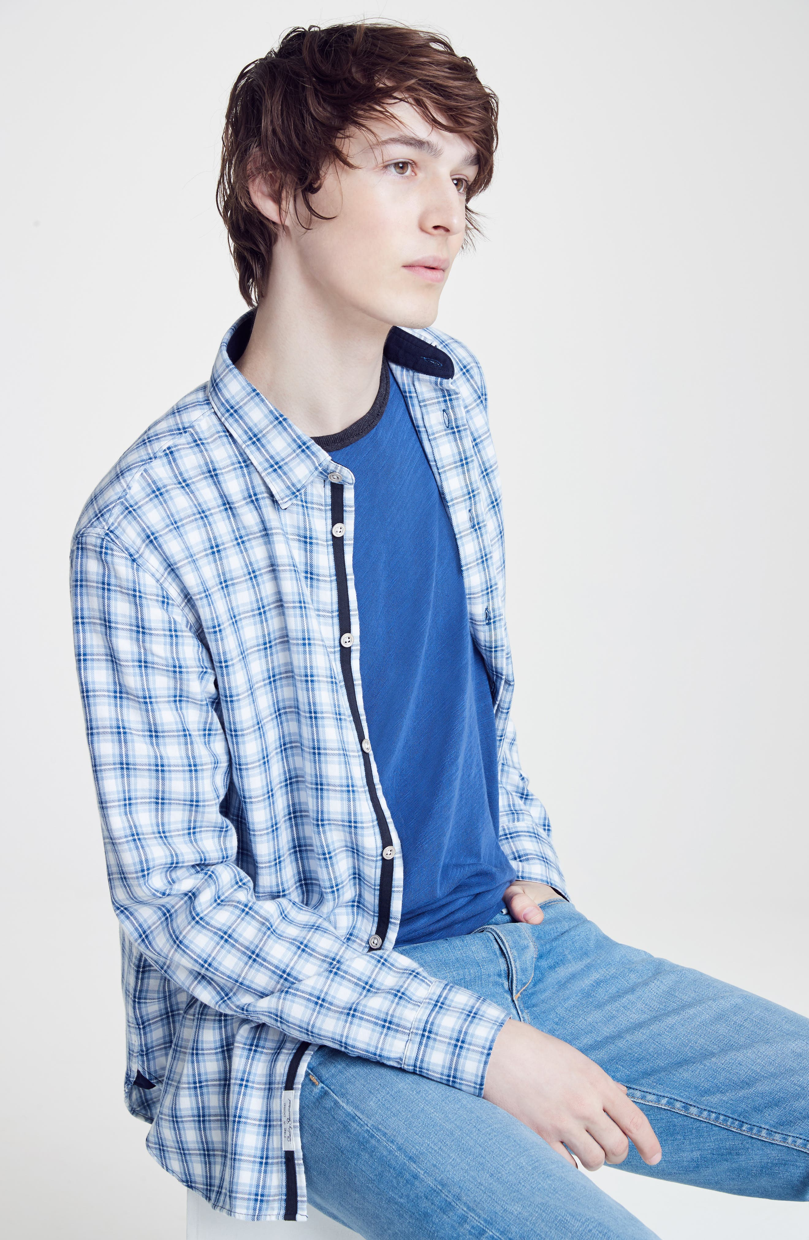 rag & bone Sport Shirt, T-Shirt & Skinny Fit Jeans Outfit with Accessories