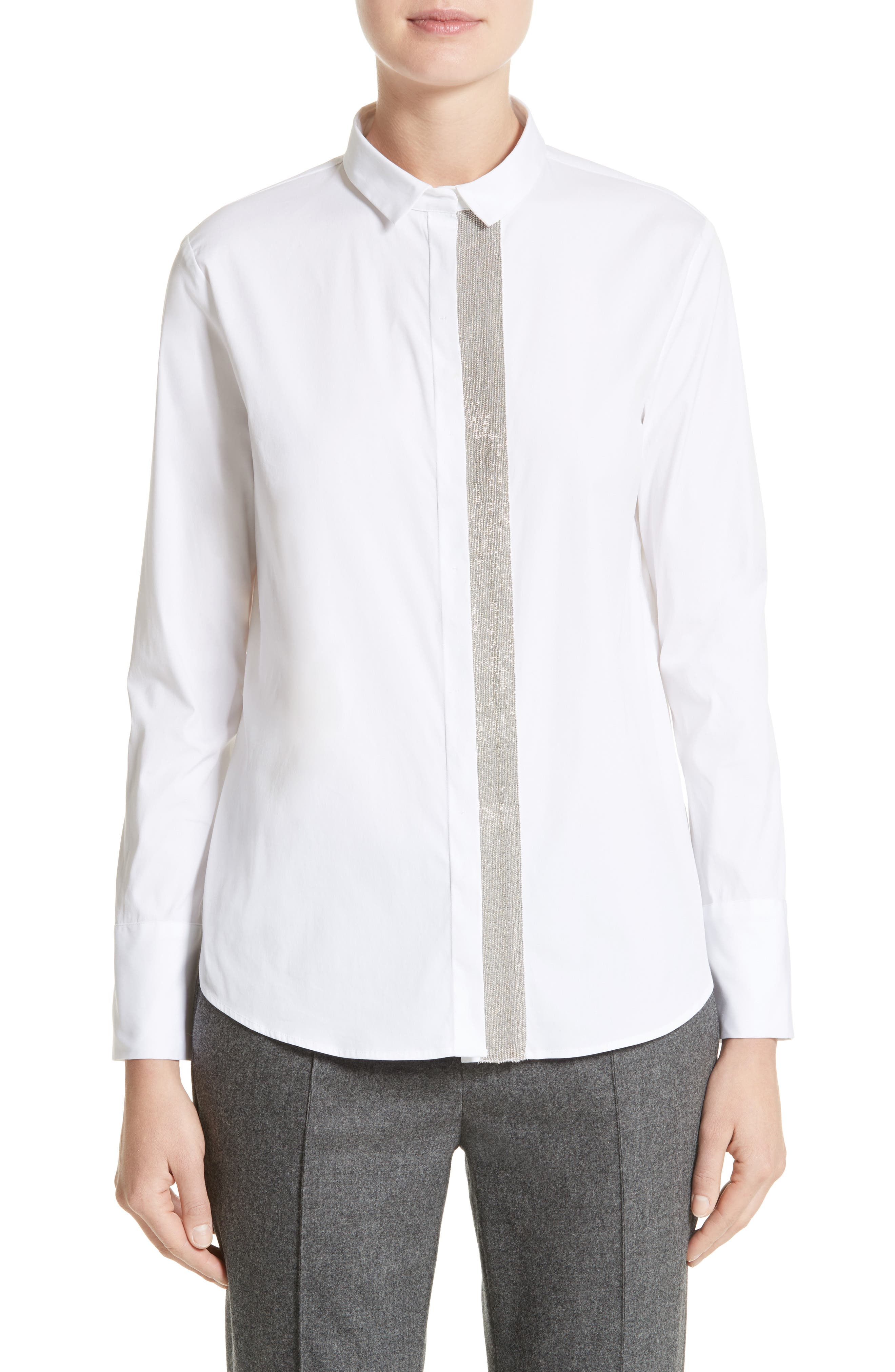 Fabiana Filippi Ball Chain Trim Poplin Blouse