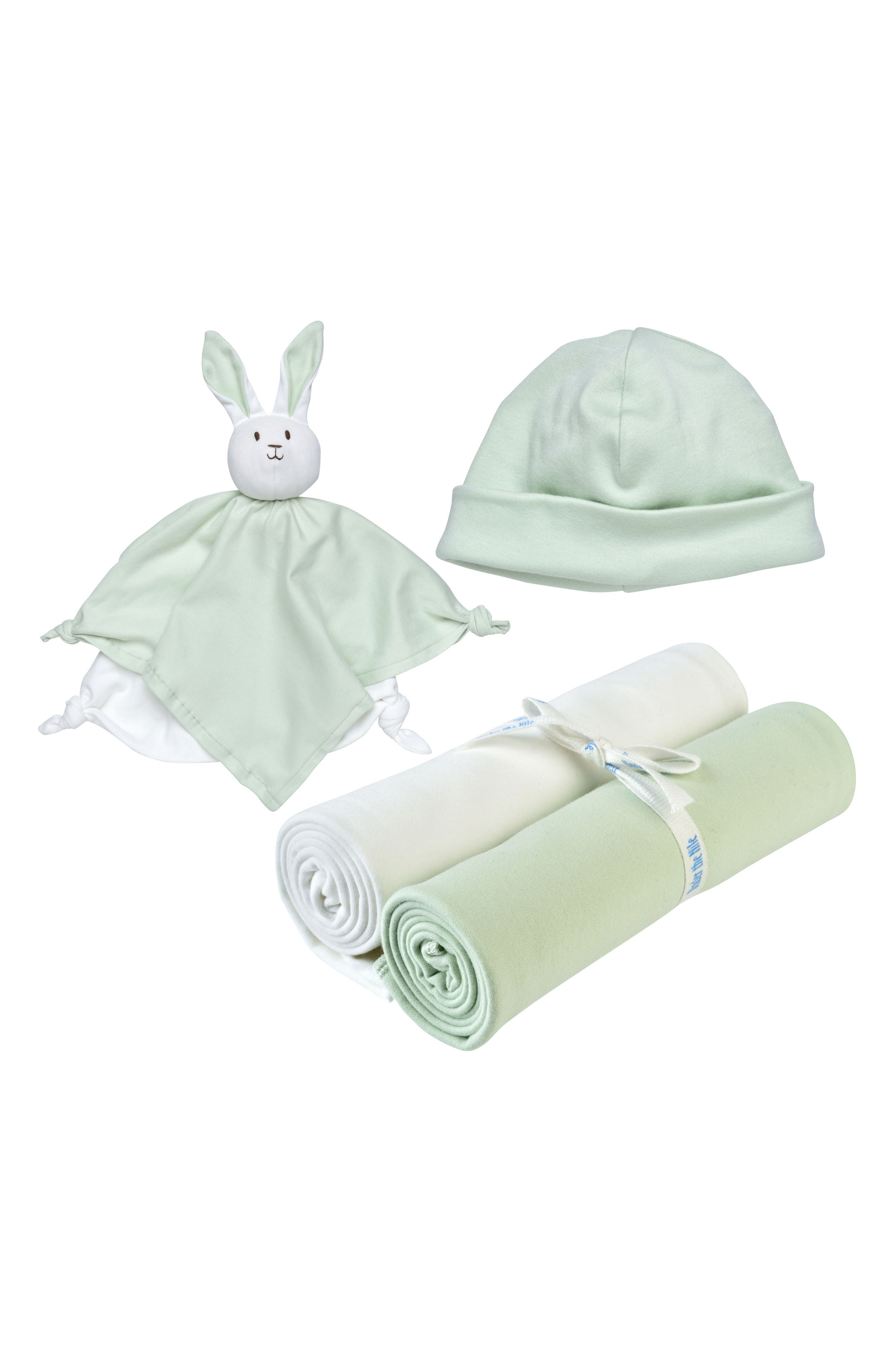Under the Nile 4-Piece Swaddle Blanket, Beanie & Rabbit Lovey Toy Set