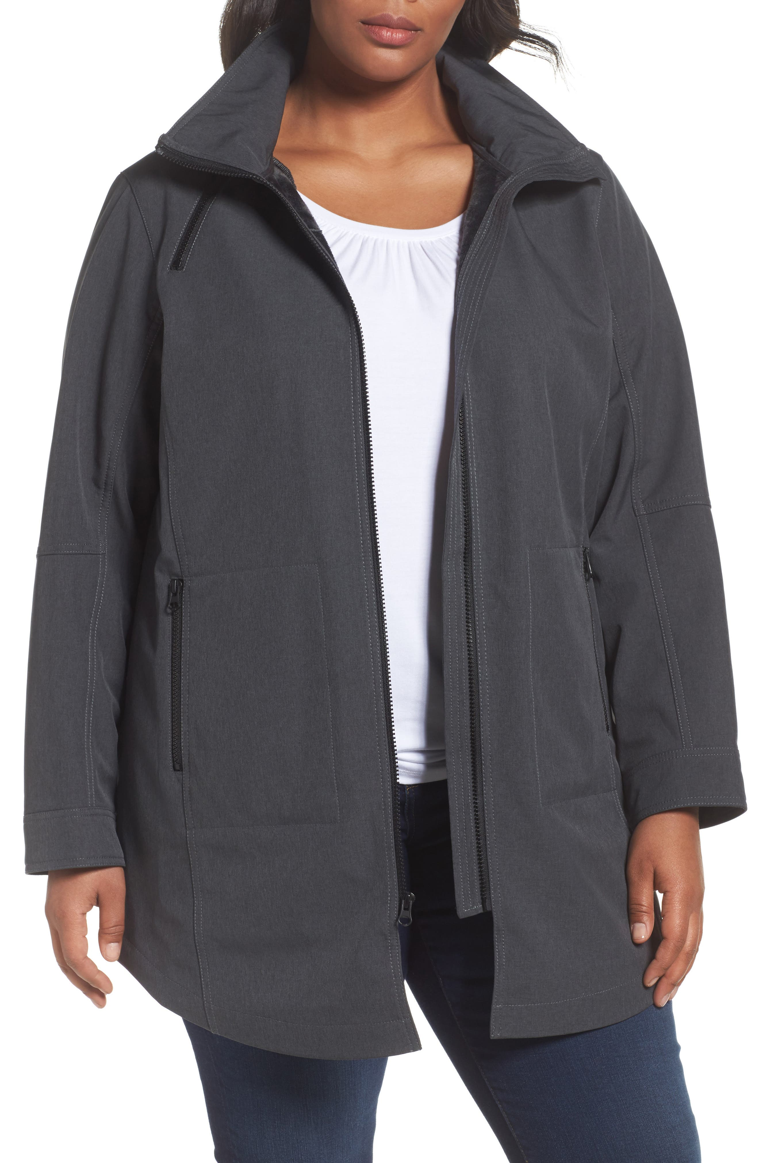 Kristen Blake Stand Collar Raincoat with Detachable Hood (Plus Size)
