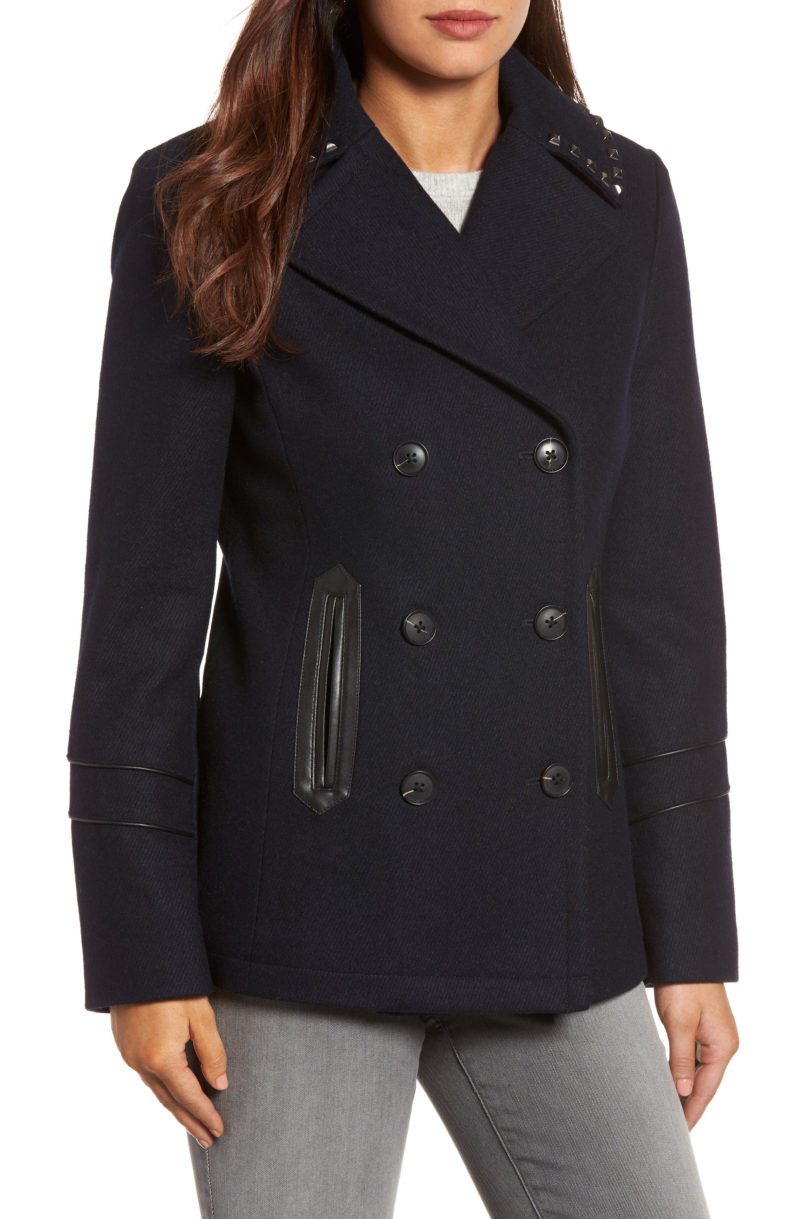 MICHAEL Michael Kors Faux Leather Trim Wool Blend Peacoat