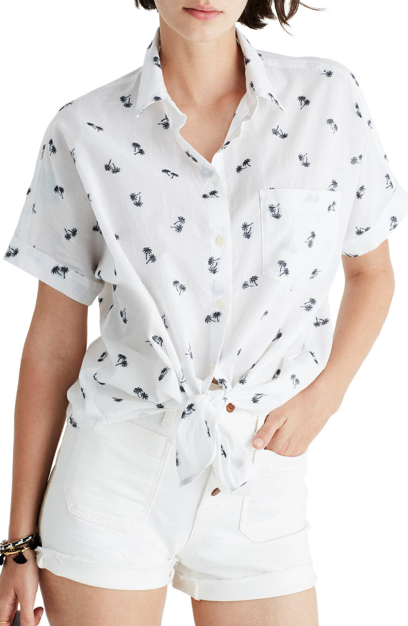 Main Image - Madewell Palm Print Tie Front Shirt