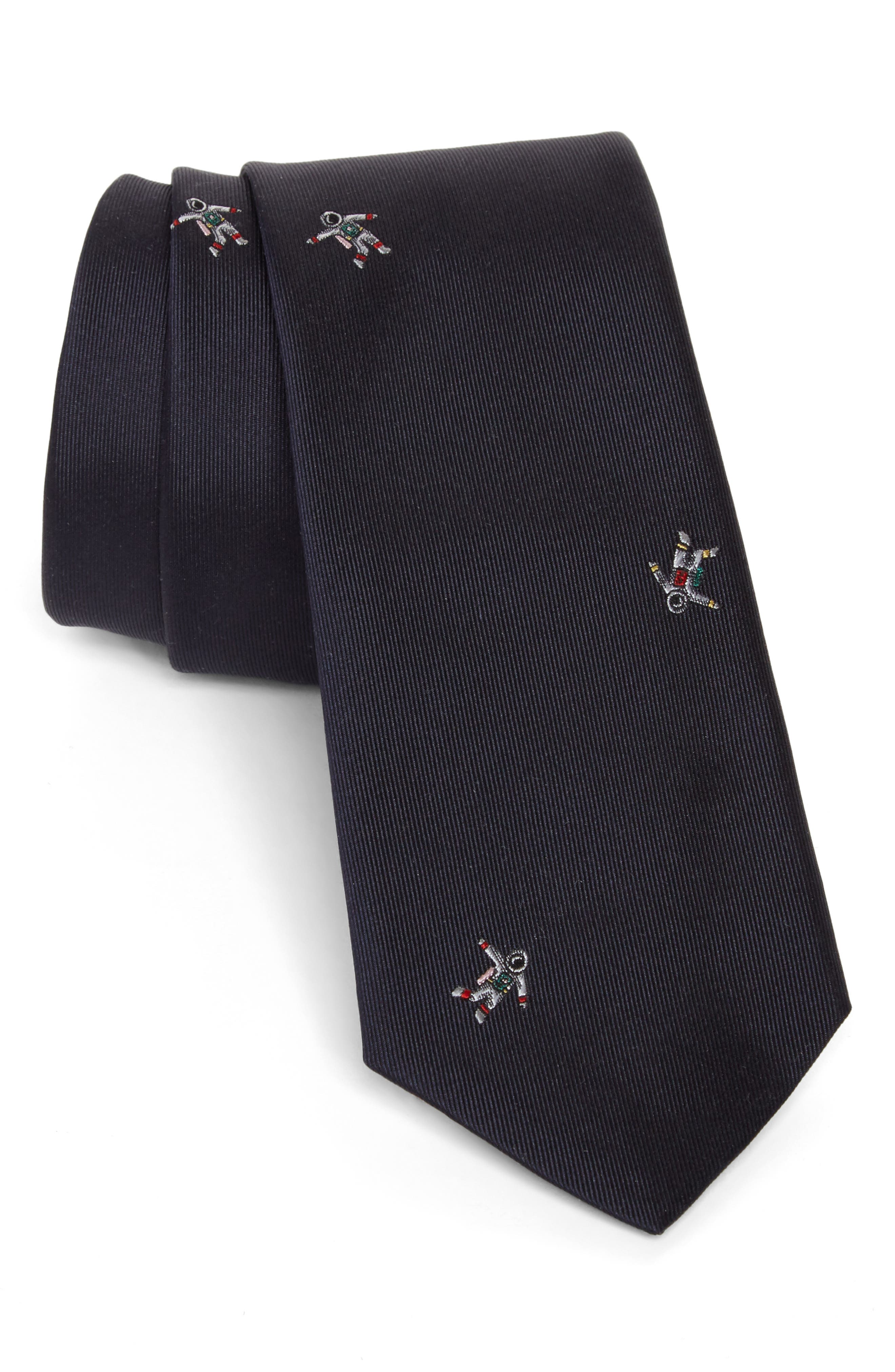 Paul Smith Embroidered Astronaut Silk Tie