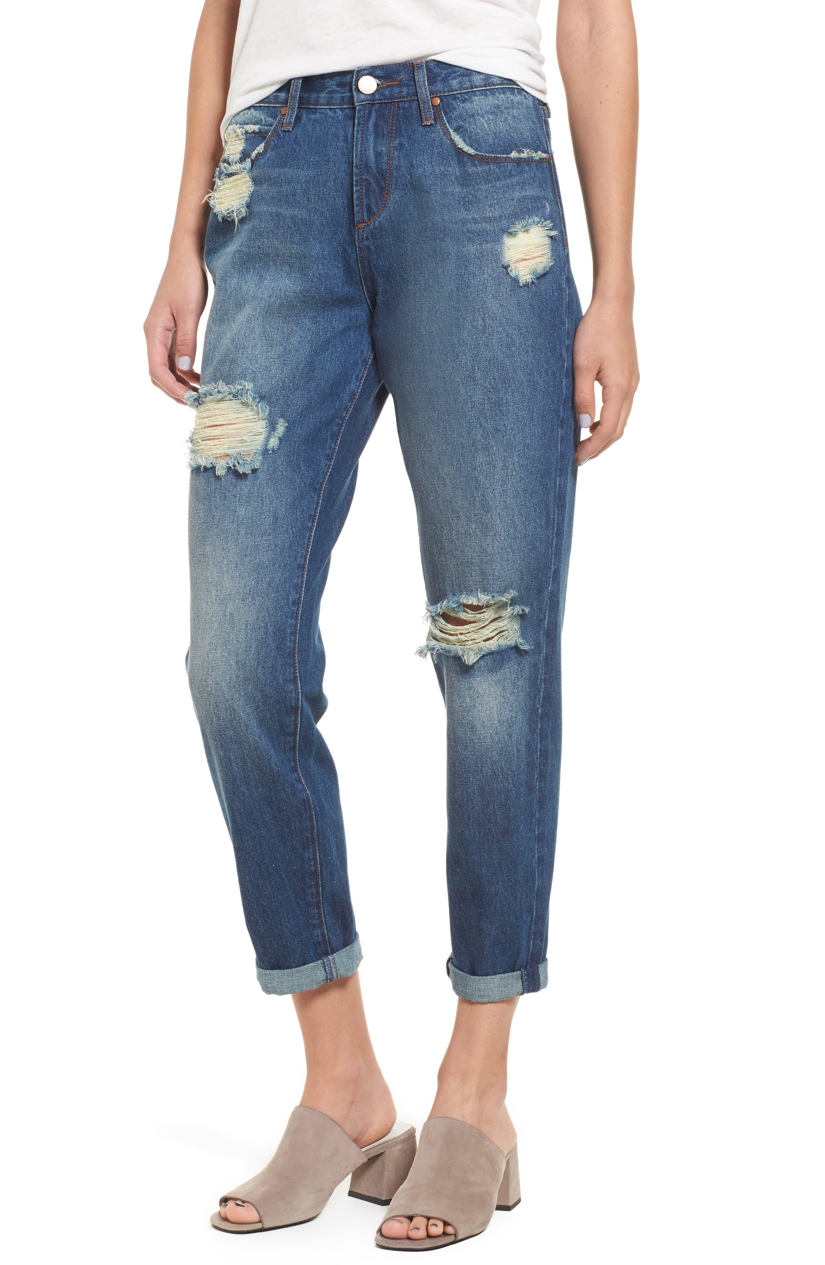 Leith Ripped High Waist Boyfriend Jeans