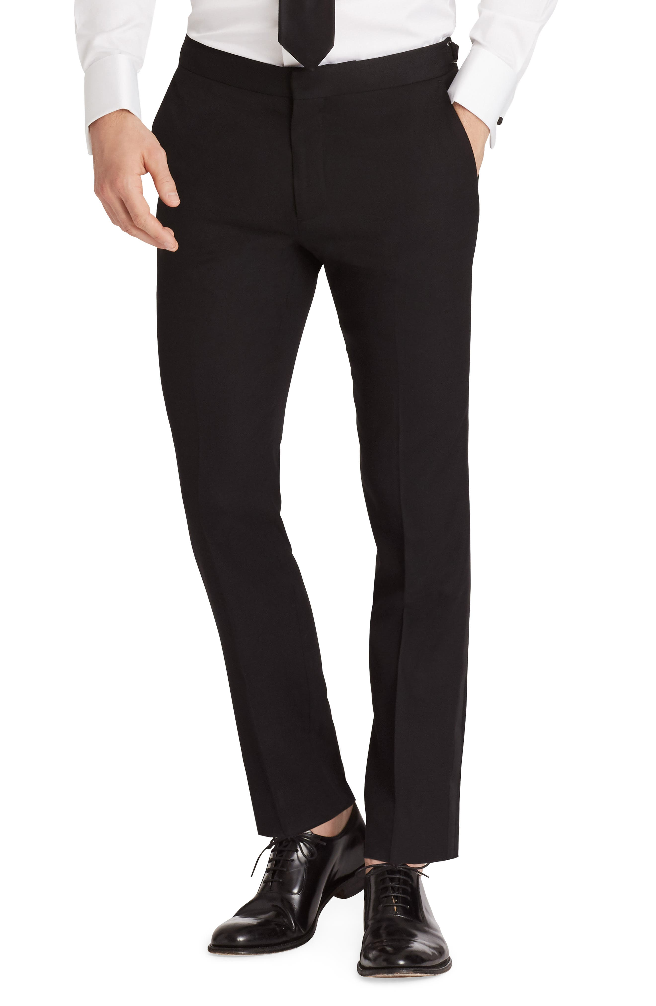 Bonobos Flat Front Stretch Wool Tuxedo Trousers