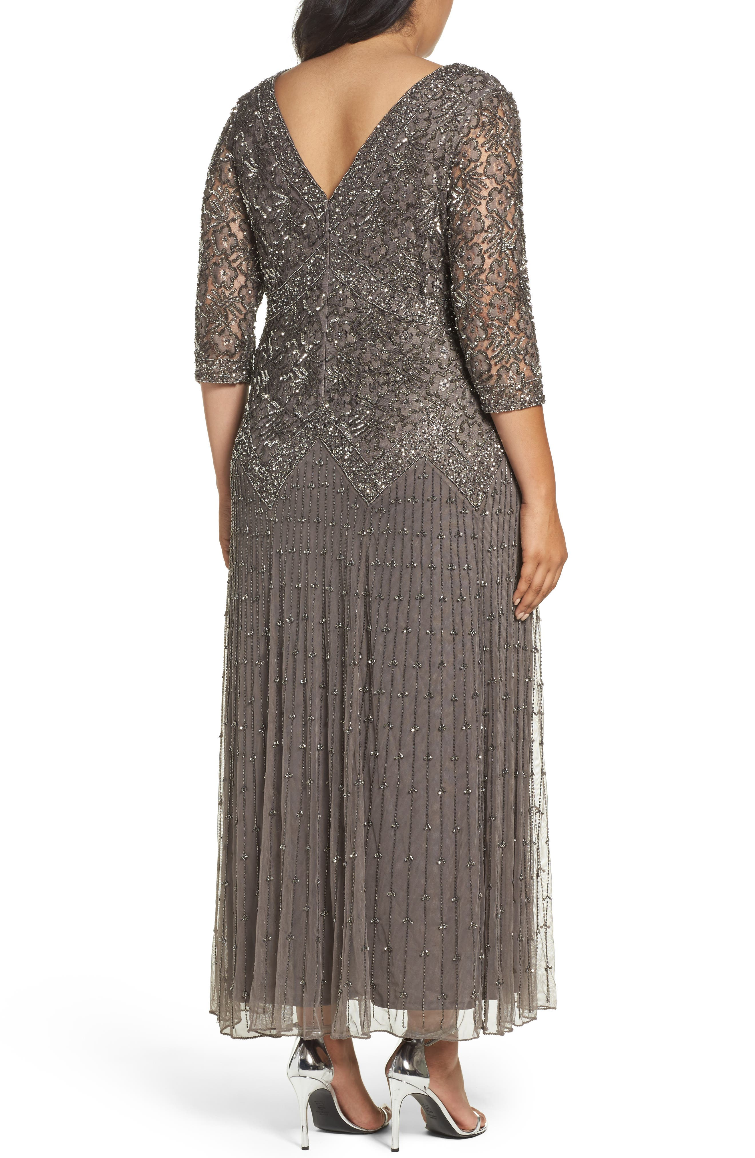 Alternate Image 2  - Pisarro Nights Beaded V-Neck Lace Illusion Gown (Plus Size)