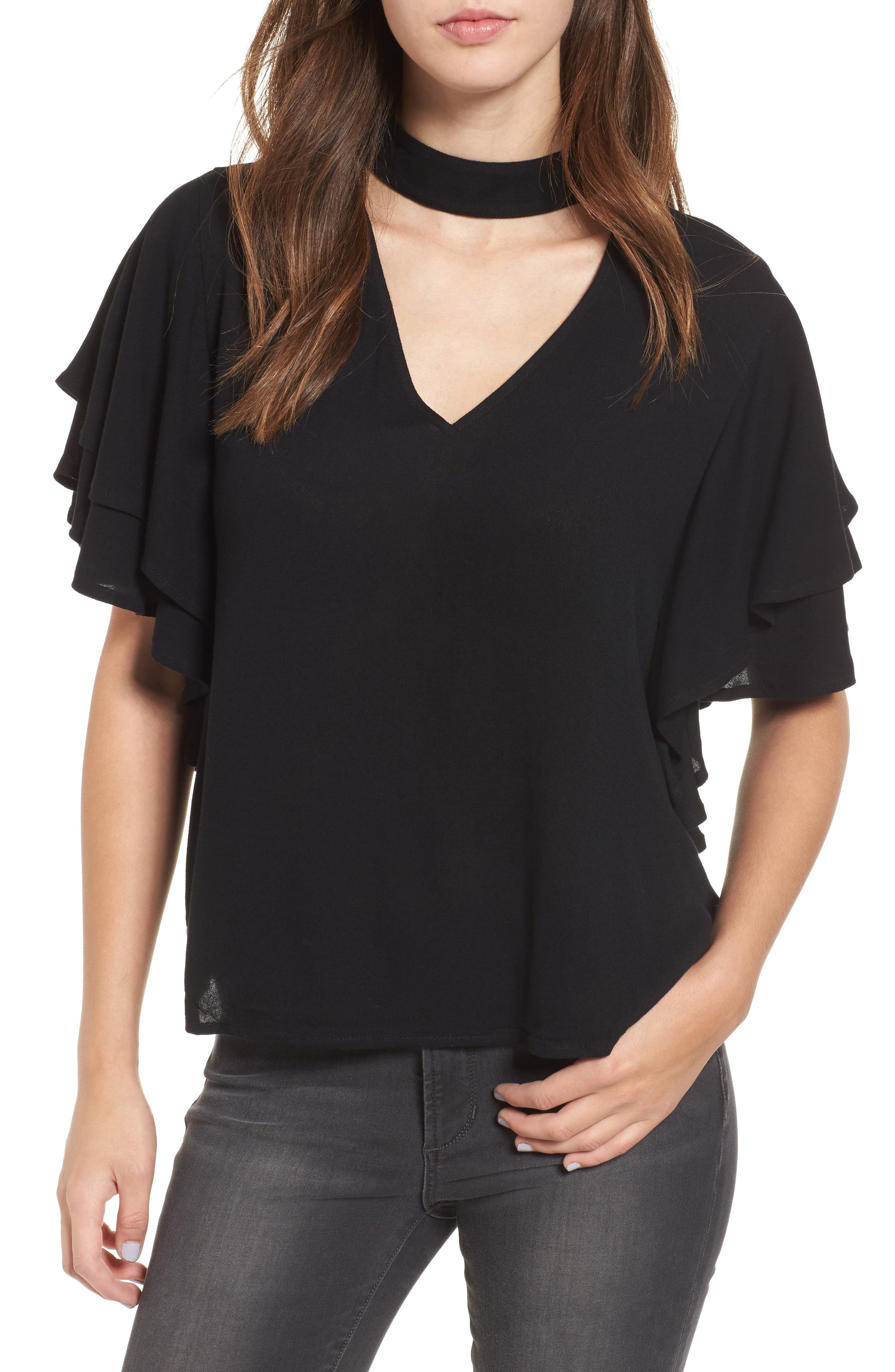 Leith Choker Ruffle Sleeve Top
