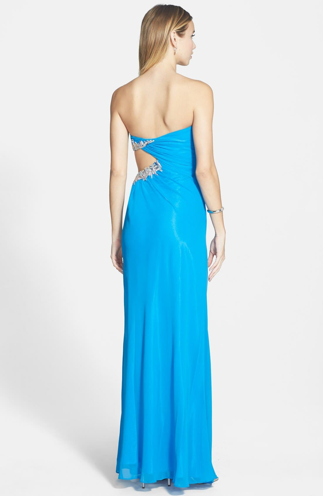 Alternate Image 2  - Faviana Embellished Cutout Sweetheart Chiffon Gown (Online Only)