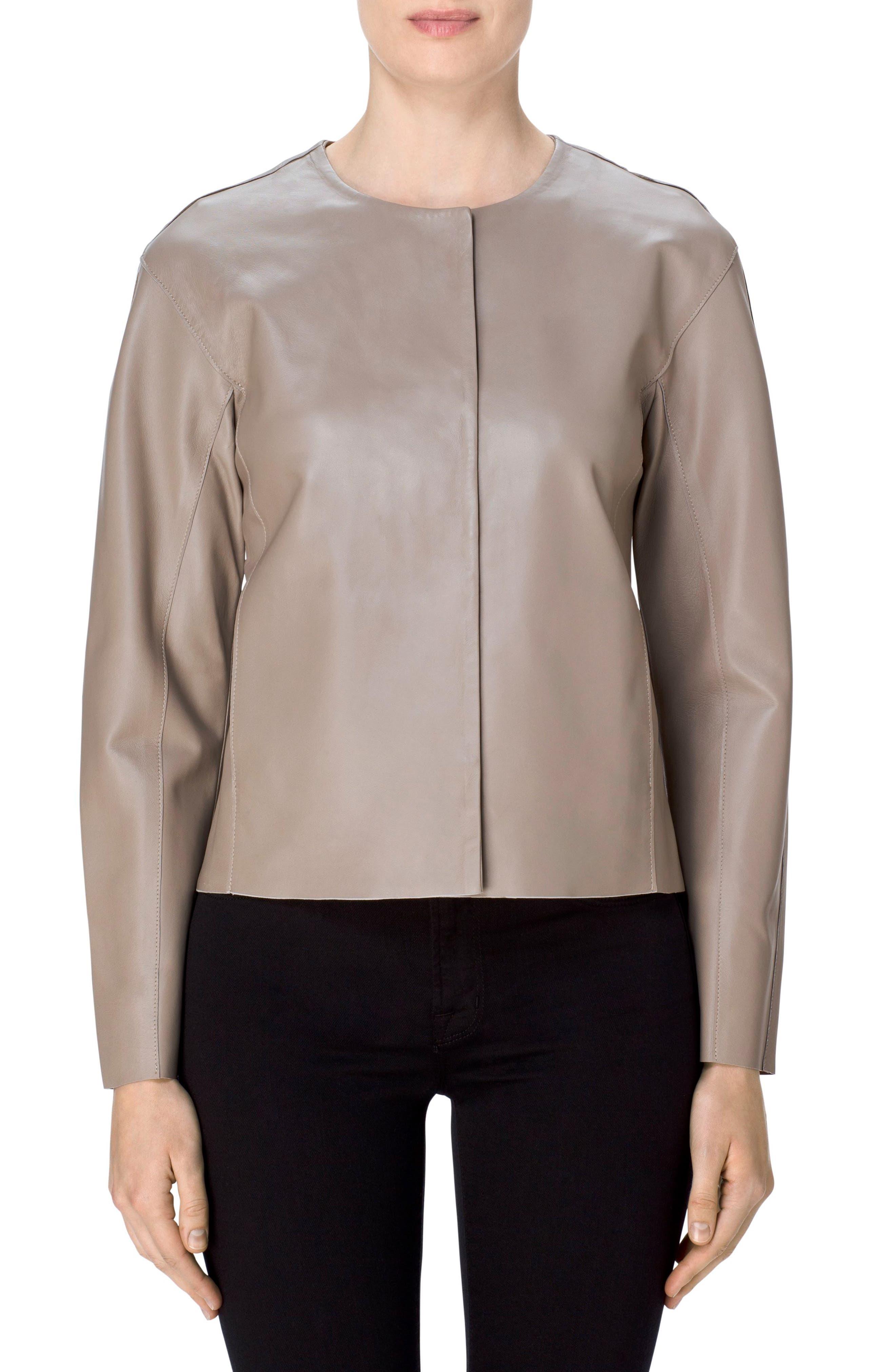J Brand Cecelia Collarless Leather Jacket