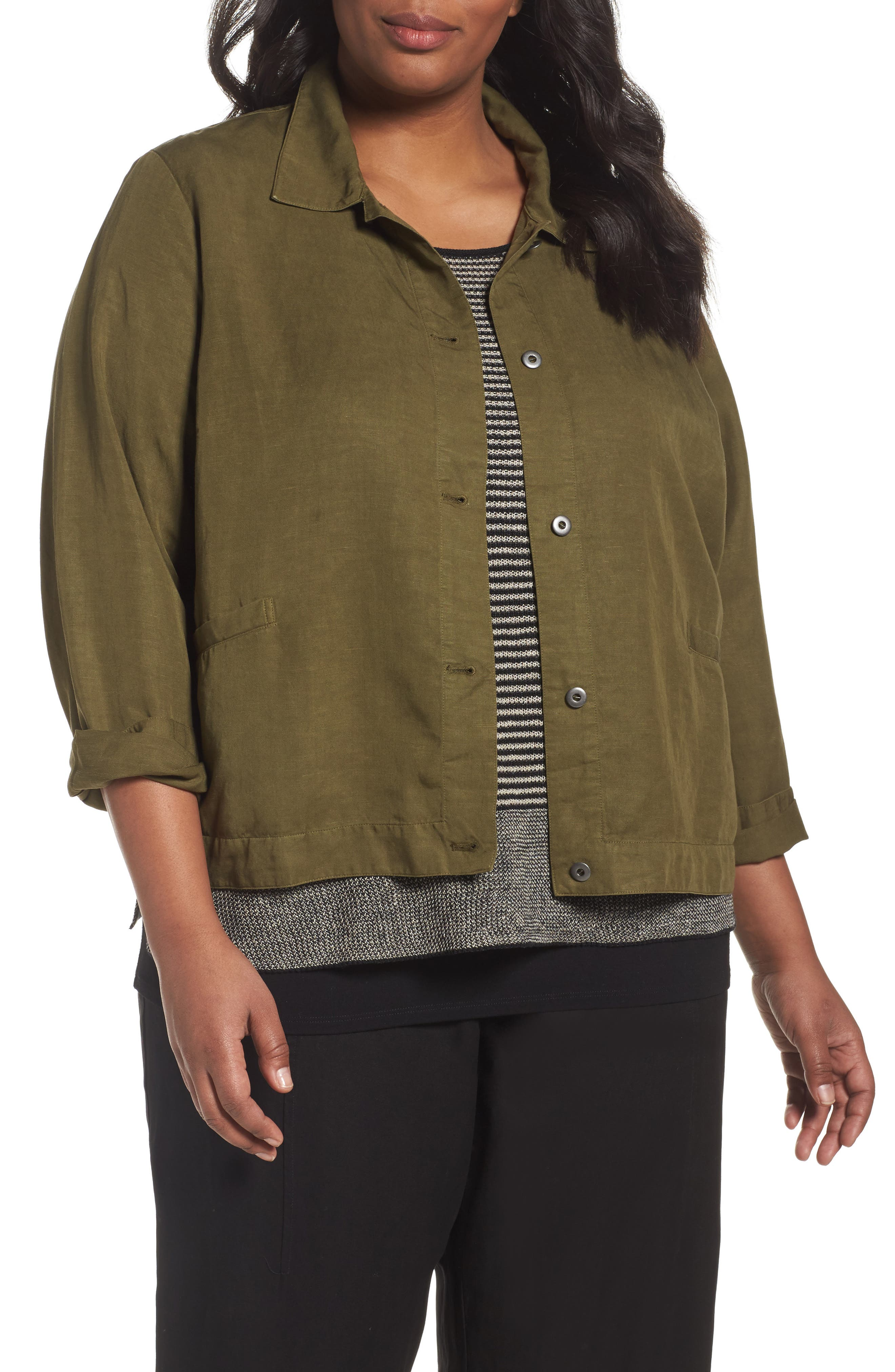 Eileen Fisher Classic Collar Jacket (Plus Size)