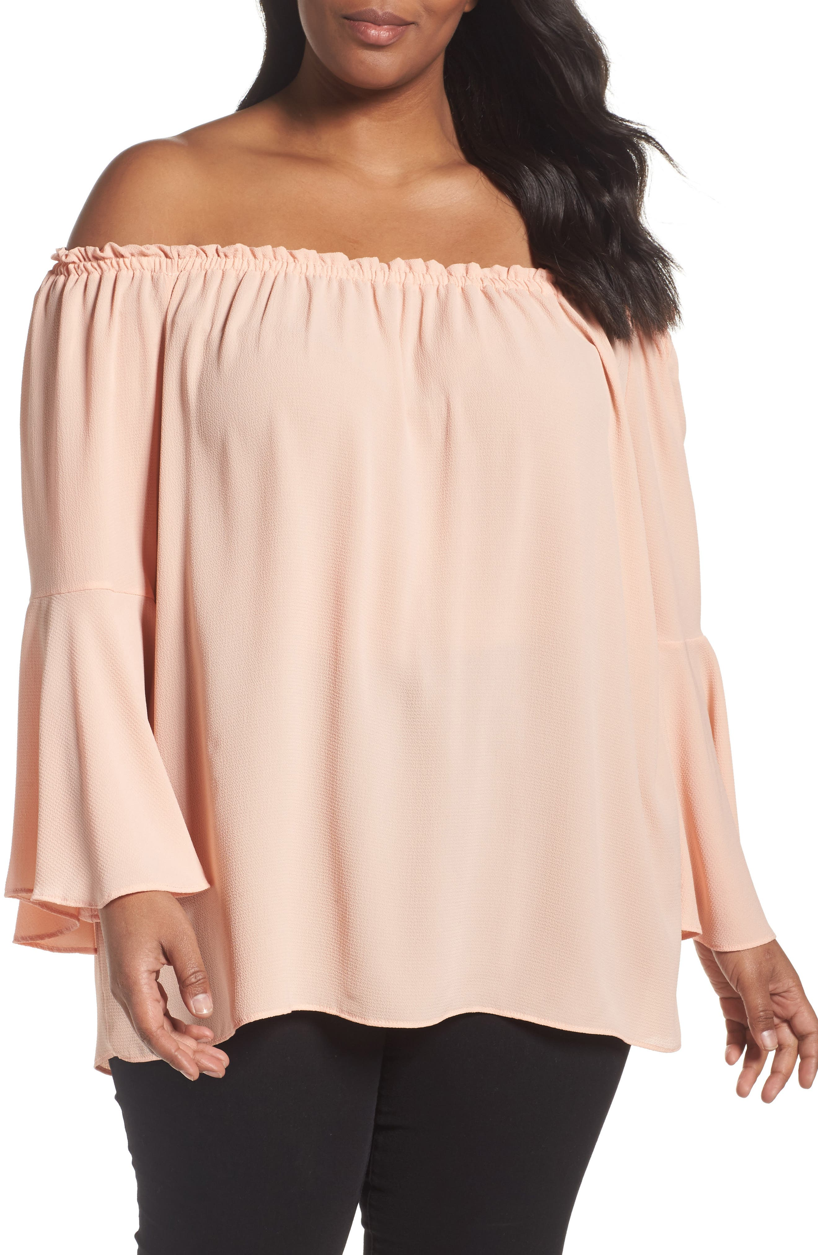 Main Image - Bobeau Bell Sleeve Off the Shoulder Top (Plus Size)