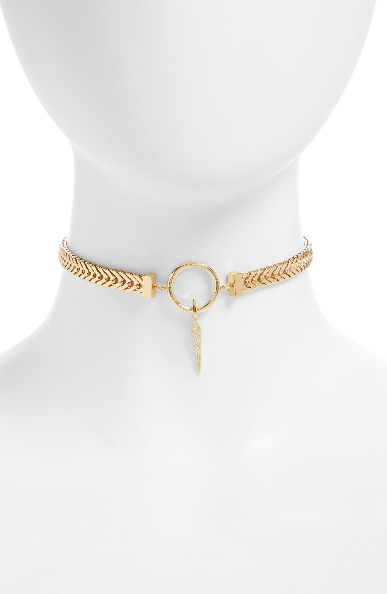 Luv AJ Hanging Spike Choker Necklace