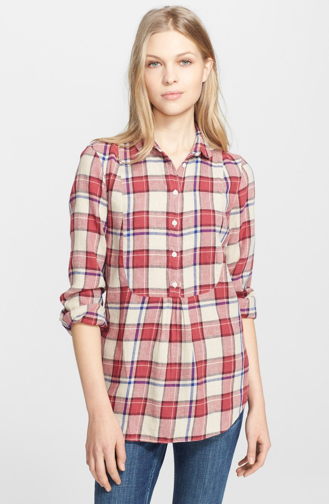 Alternate Image 1 Selected - Burberry Brit Bib Front Flannel Shirt