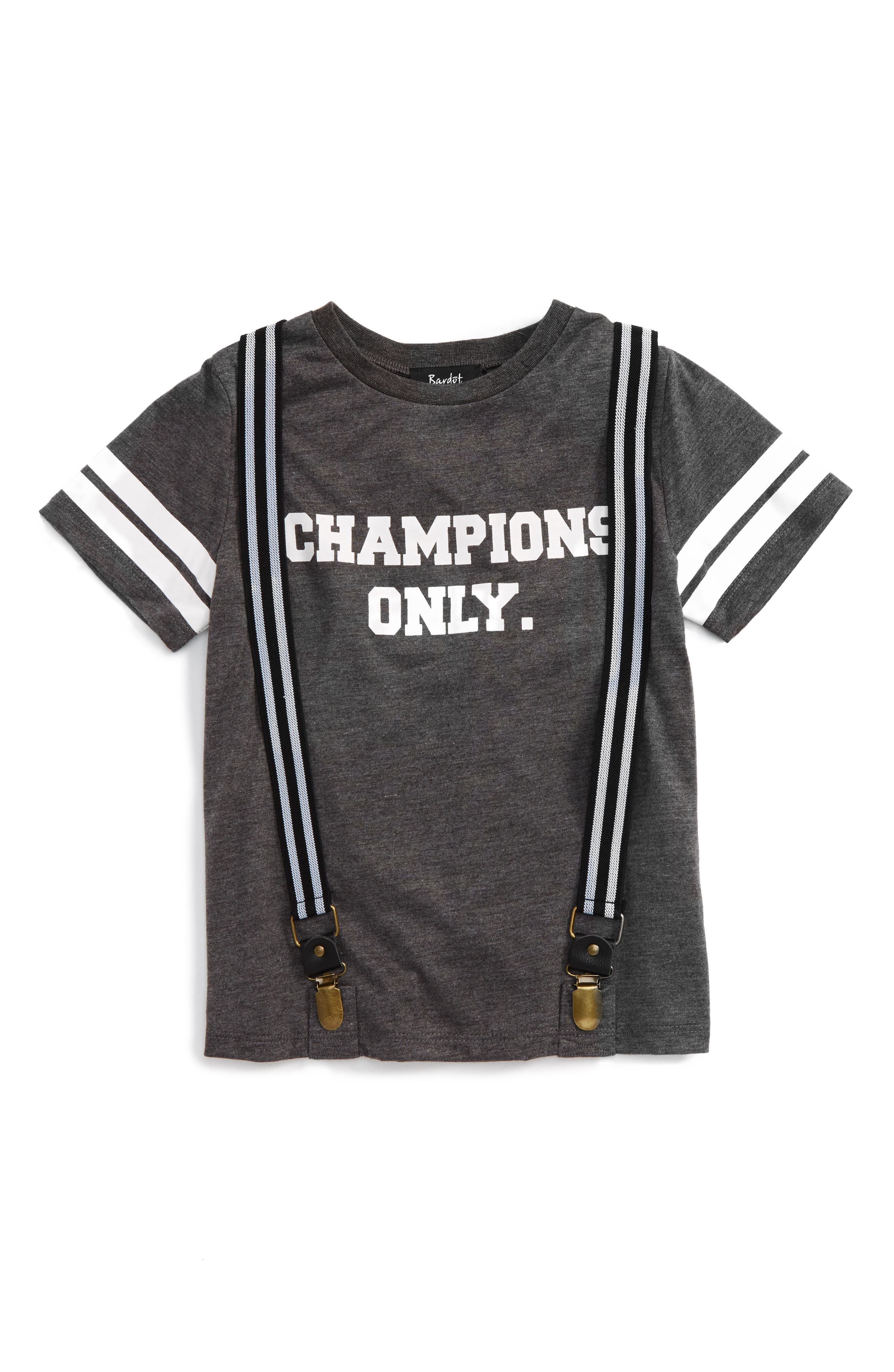 Bardot Junior Champions Only Graphic T-Shirt & Suspenders Set (Baby Boys & Toddler Boys)