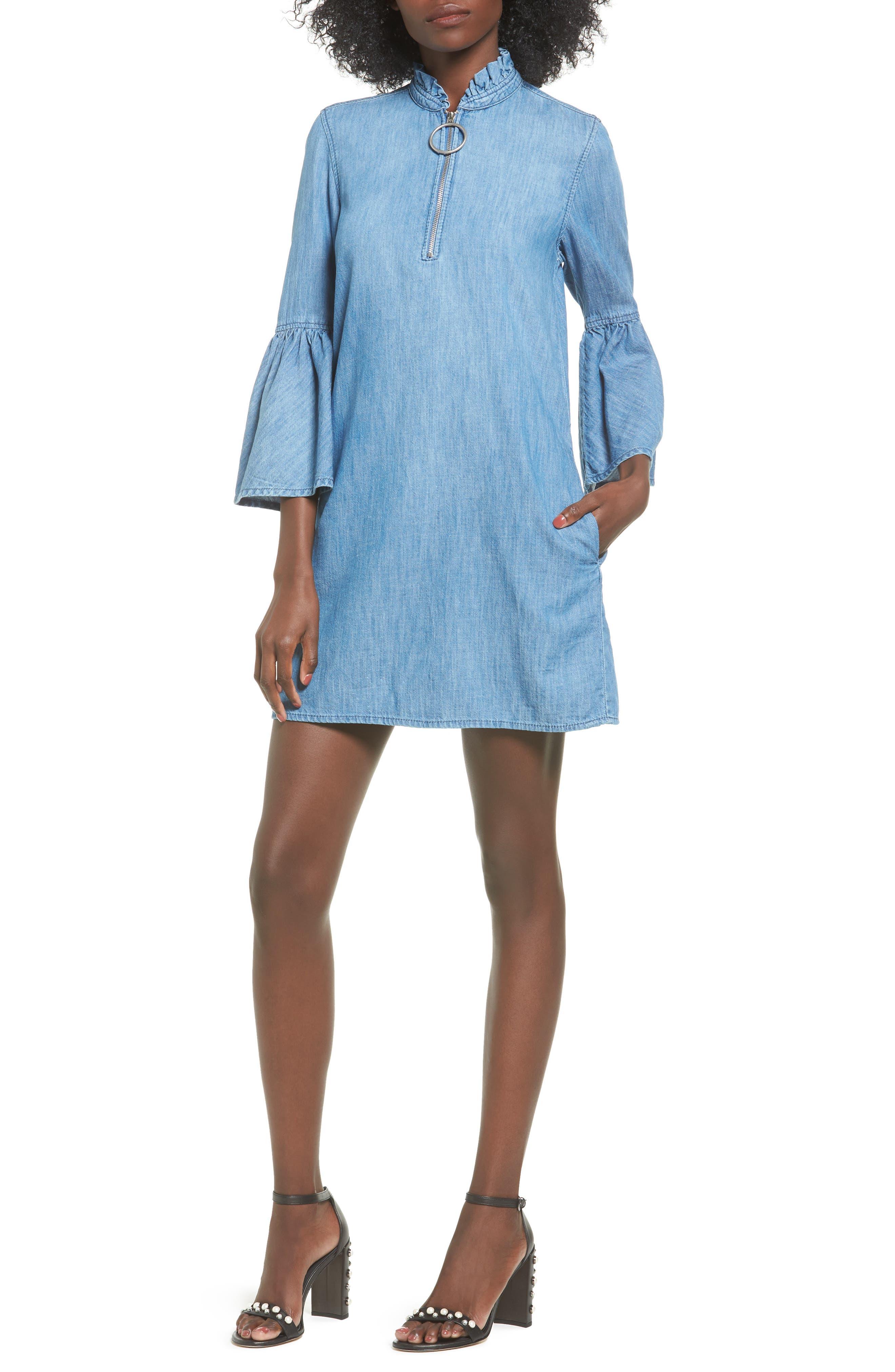 BLANKNYC Good Behavior Chambray Bell Sleeve Dress