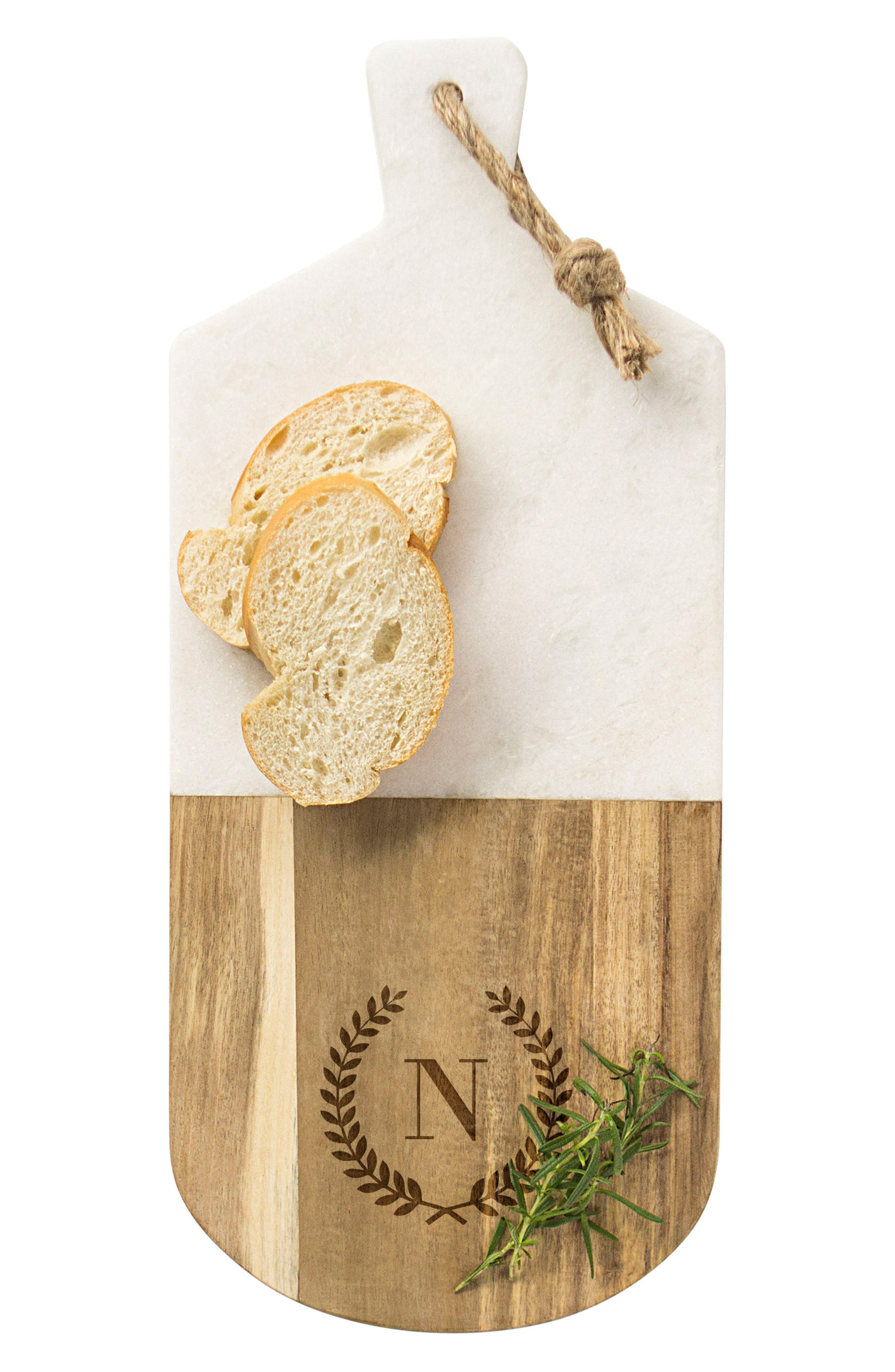 Cathy's Concepts Monogram Marble & Wood Serving Board