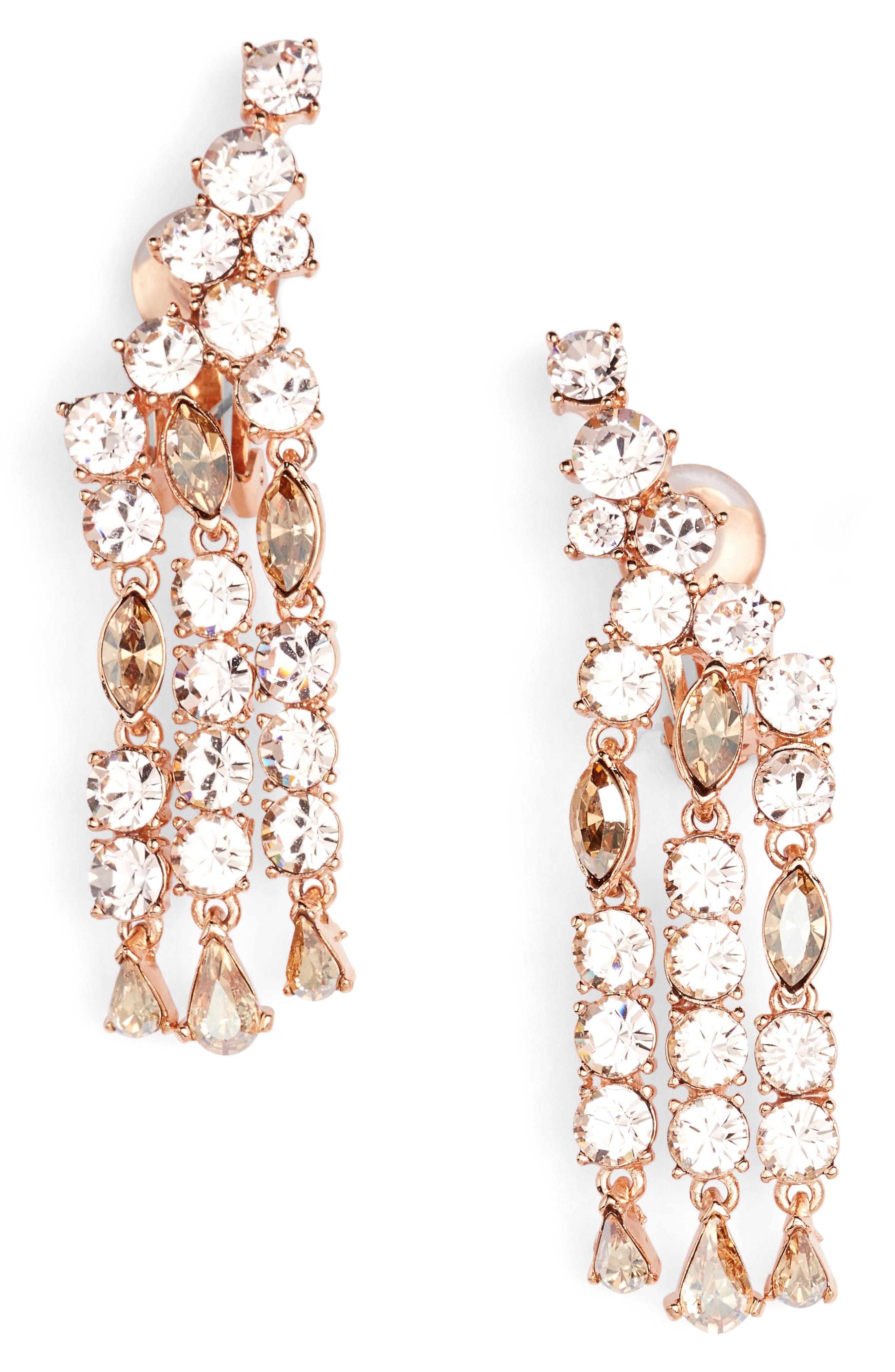 Oscar de la Renta Crystal Fan Drop Earrings
