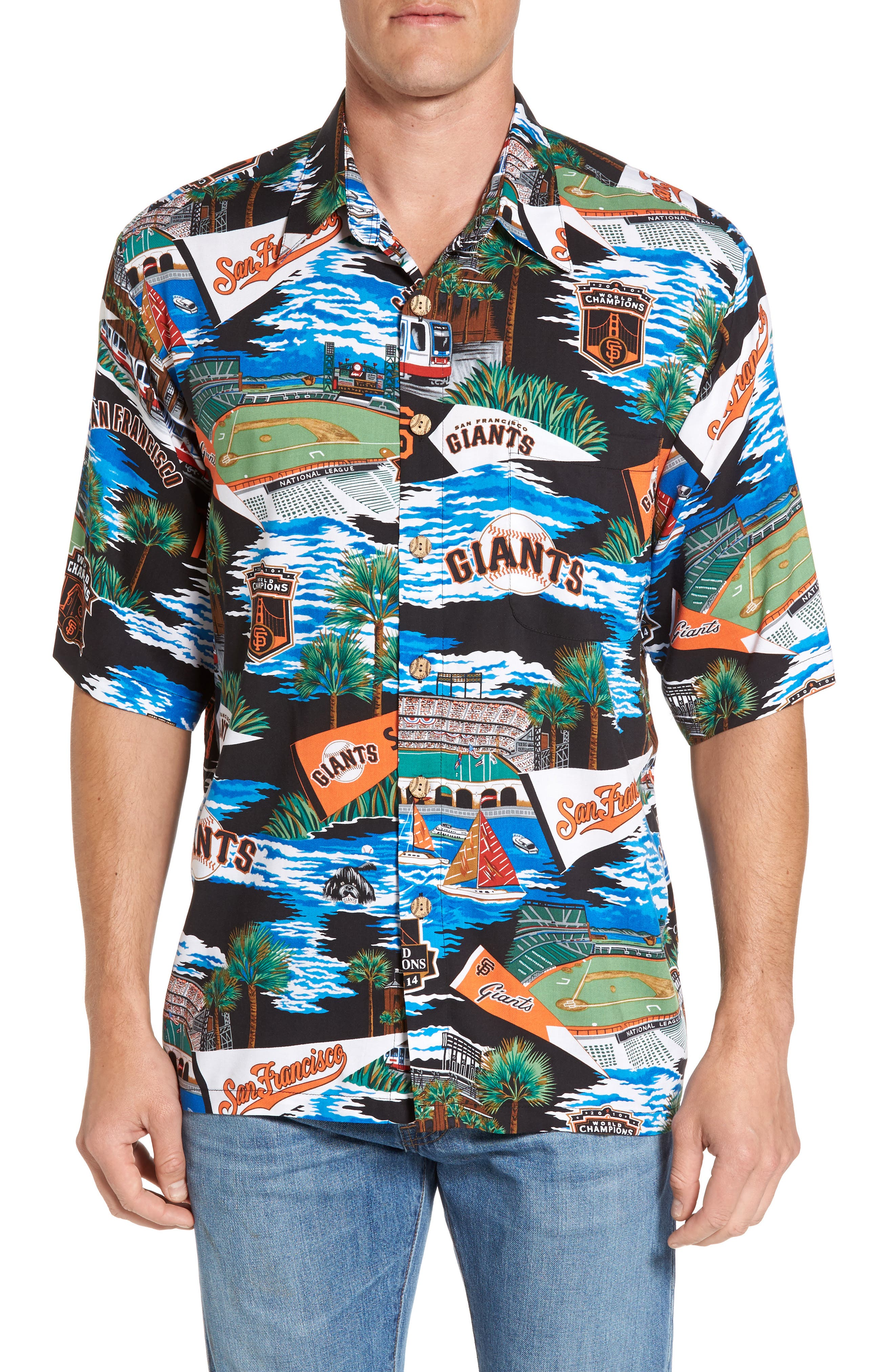 Reyn Spooner San Francisco Giants Print Camp Shirt