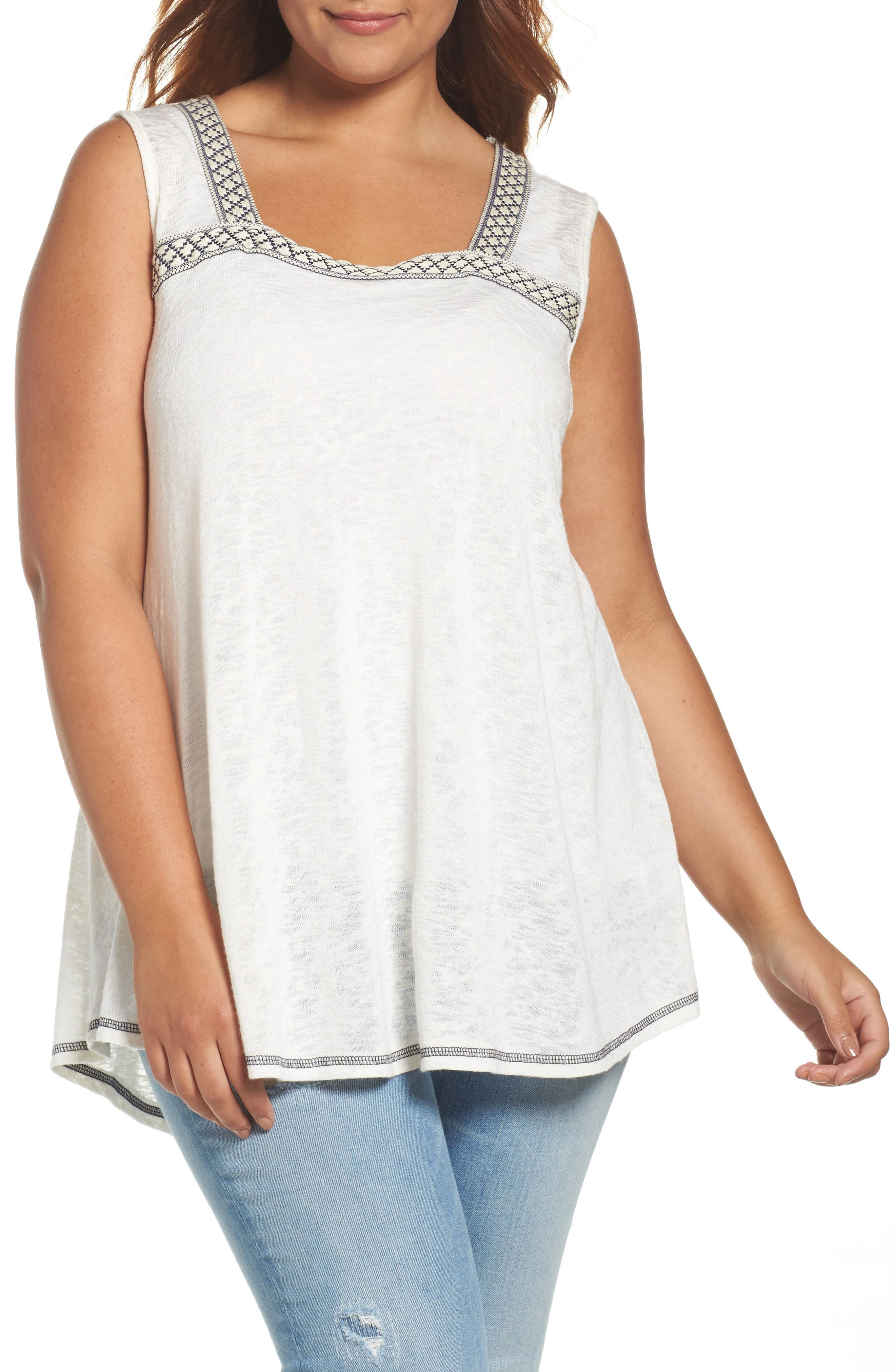 Bobeau Jacquard Trim Slub Knit Top (Plus Size)