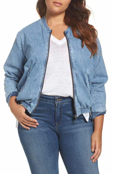 Lucky Brand Denim Bomber Jacket (Plus Size)
