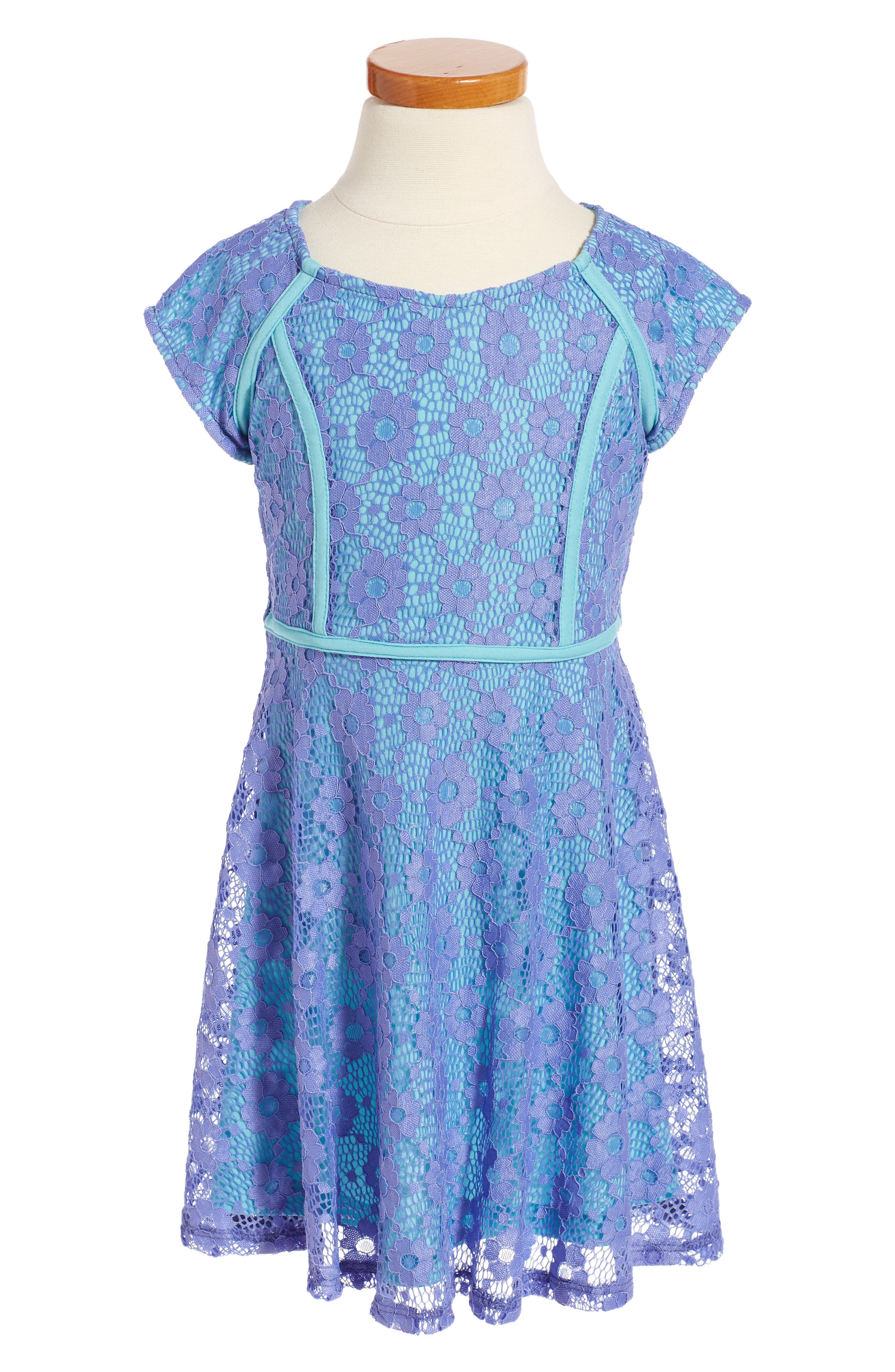 Ava & Yelly Floral Lace Skater Dress (Little Girls)