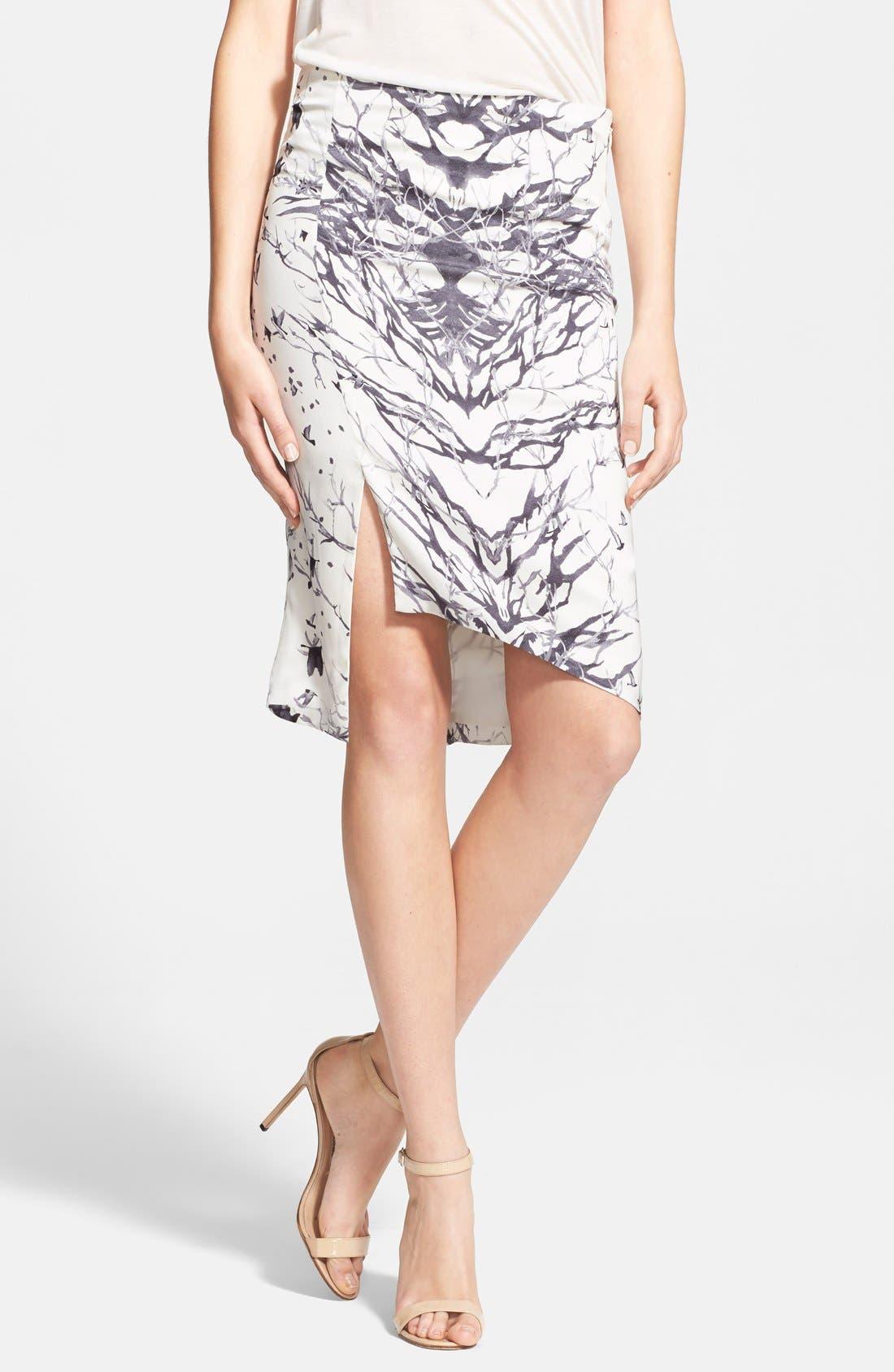 Alternate Image 1 Selected - Haute Hippie Bird & Branch Print Slit Silk Pencil Skirt
