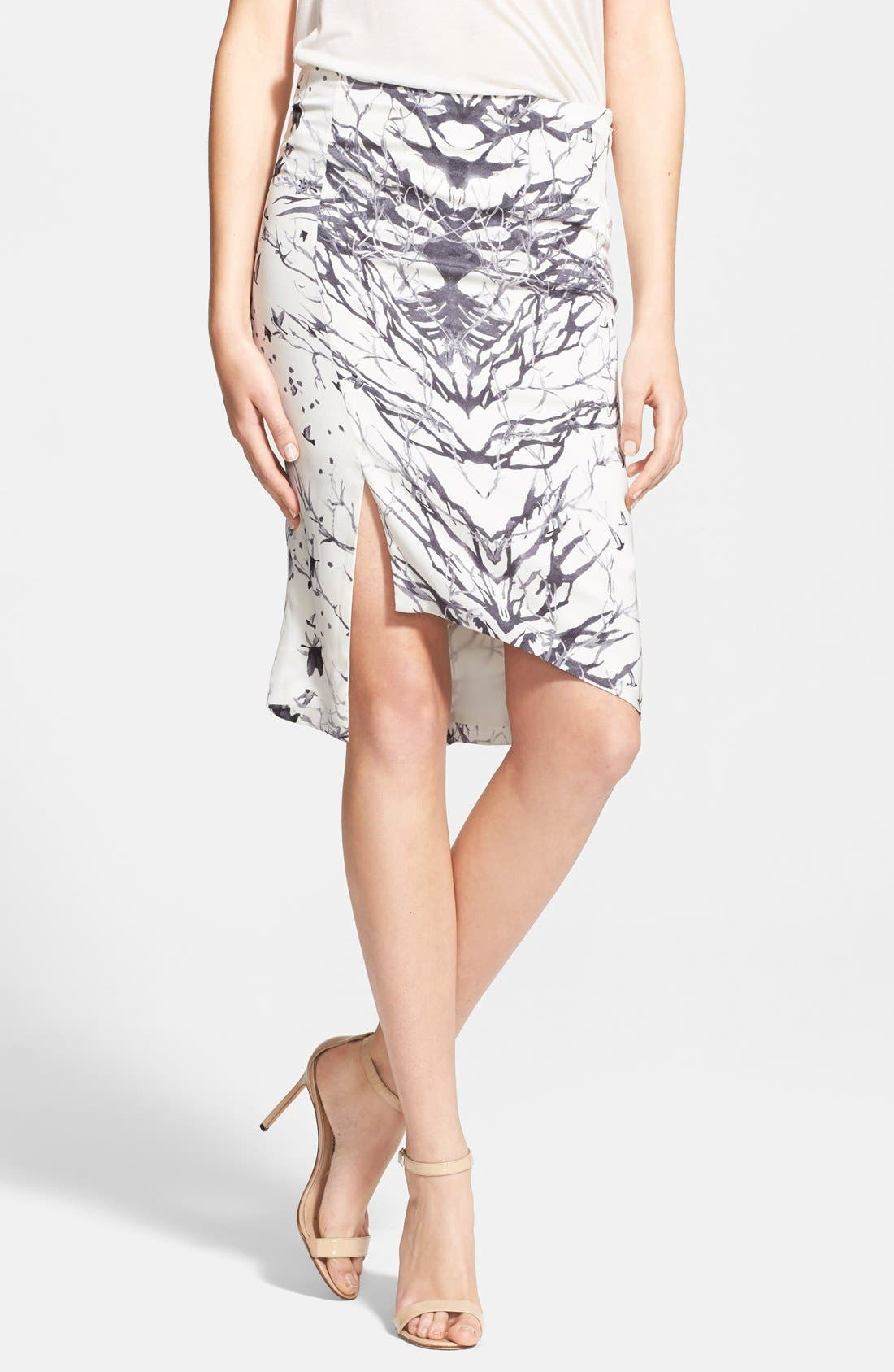 Main Image - Haute Hippie Bird & Branch Print Slit Silk Pencil Skirt