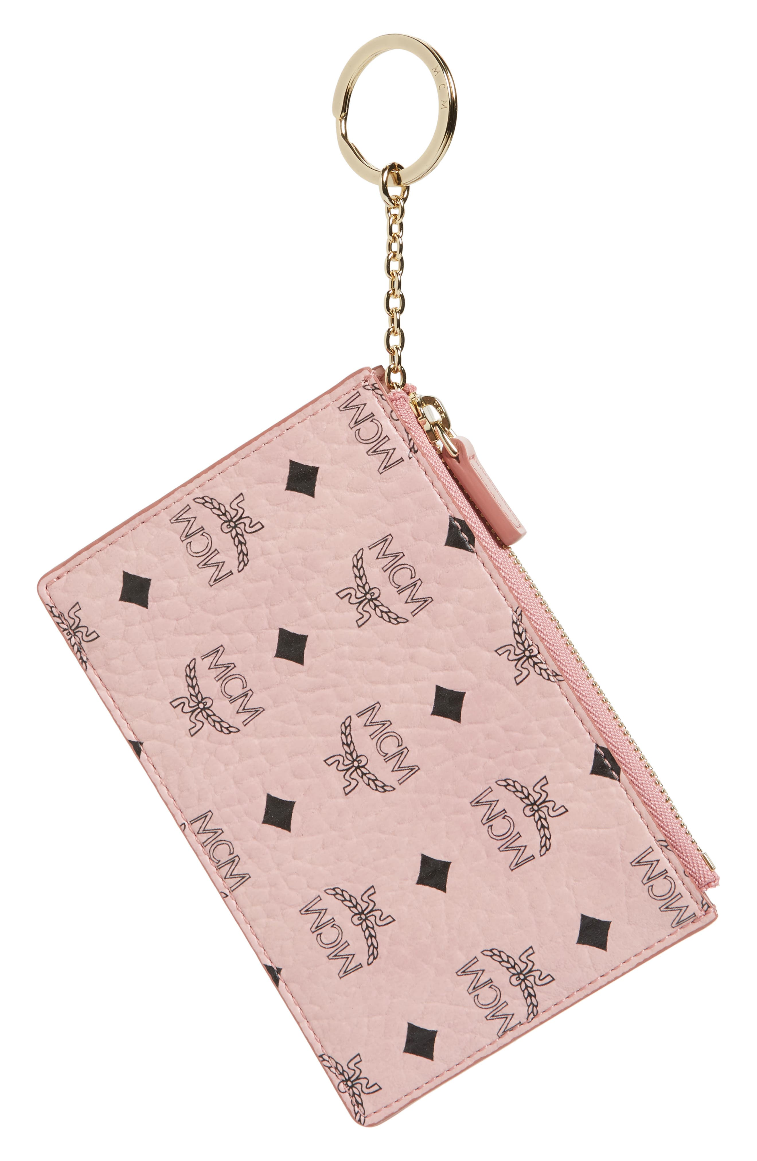 MCM Visetos Coated Canvas Zip Key Chain Pouch