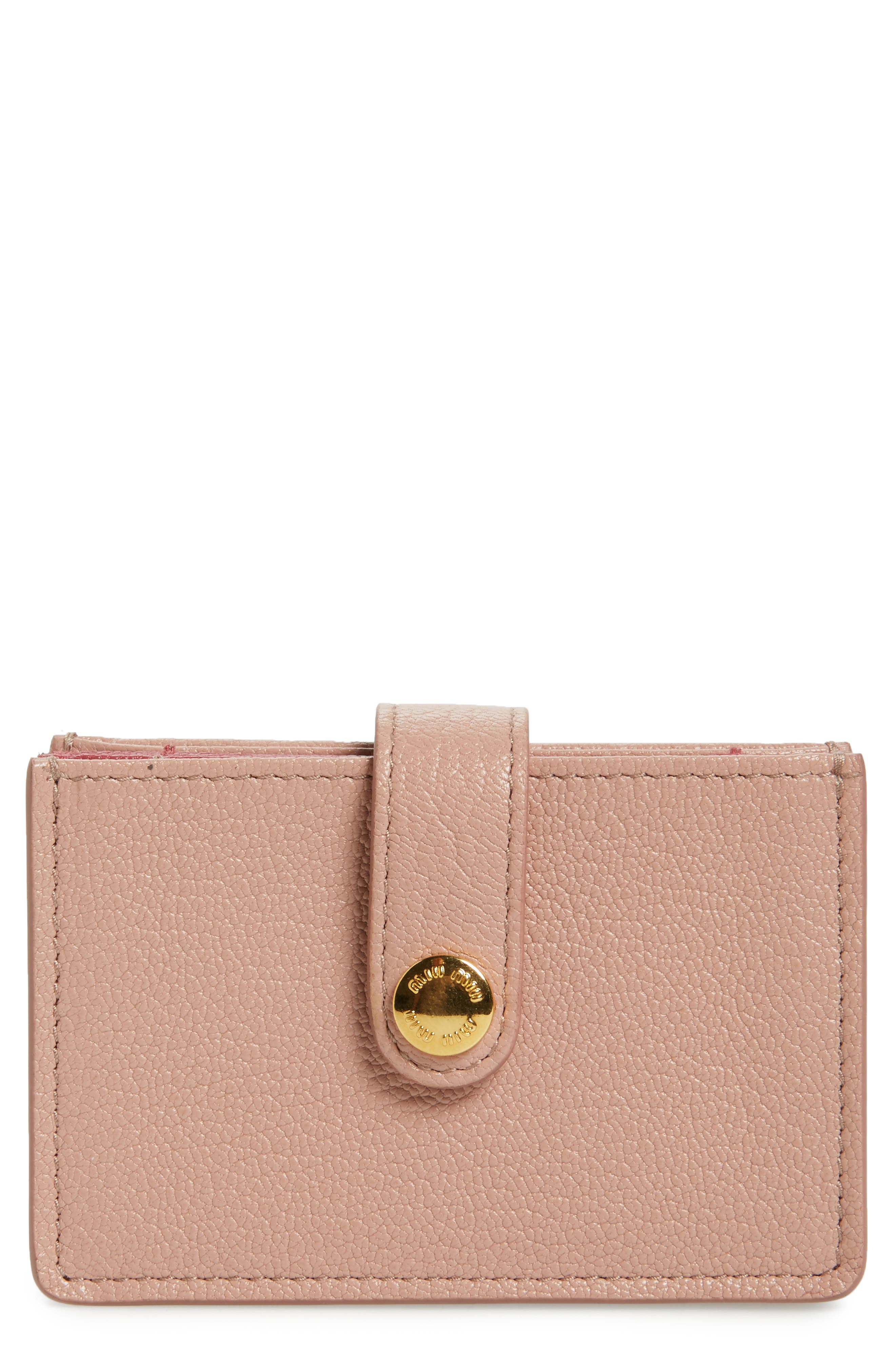 Miu Miu Madras Accordion Leather Card Case