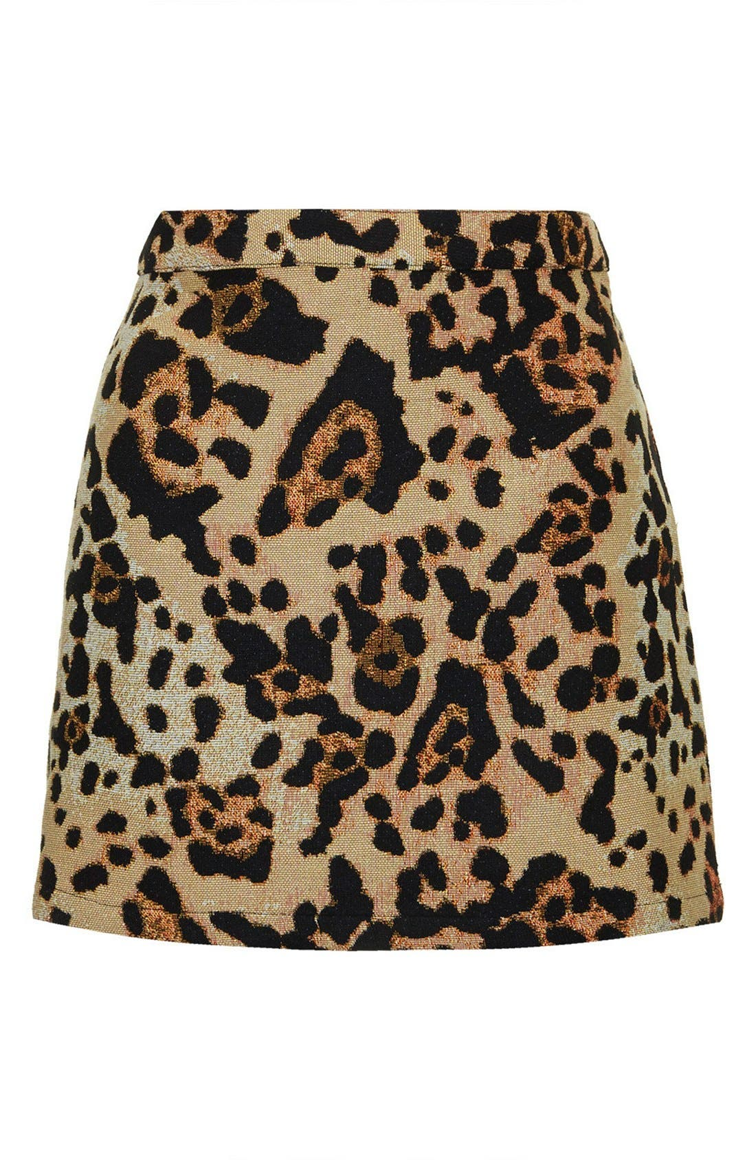 Alternate Image 3  - Topshop Animal Jacquard A-Line Skirt