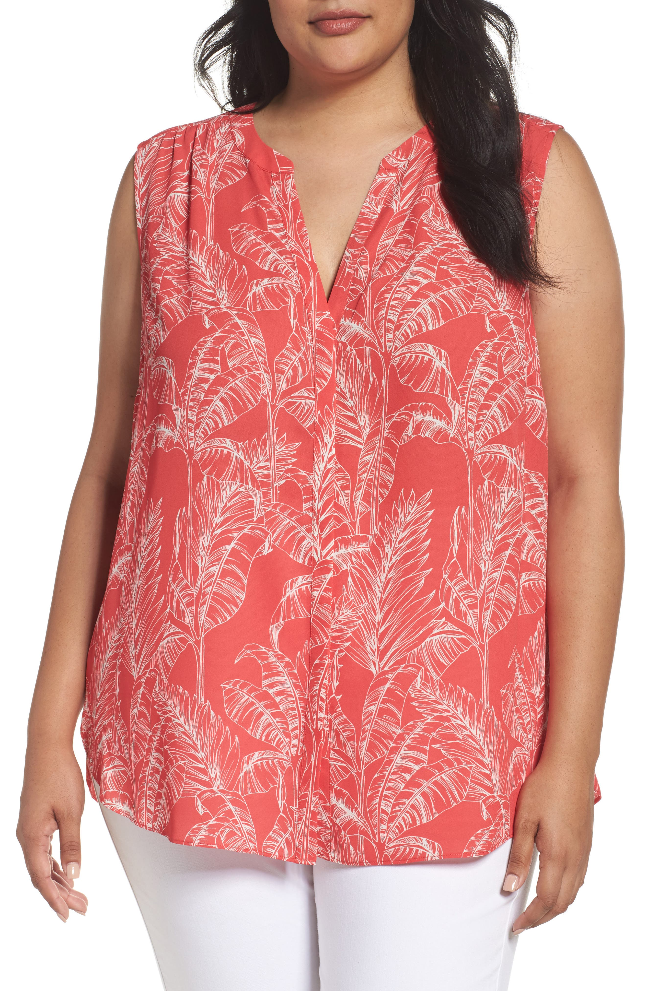 NYDJ Print Sleeveless Pleat Back Top (Plus Size)