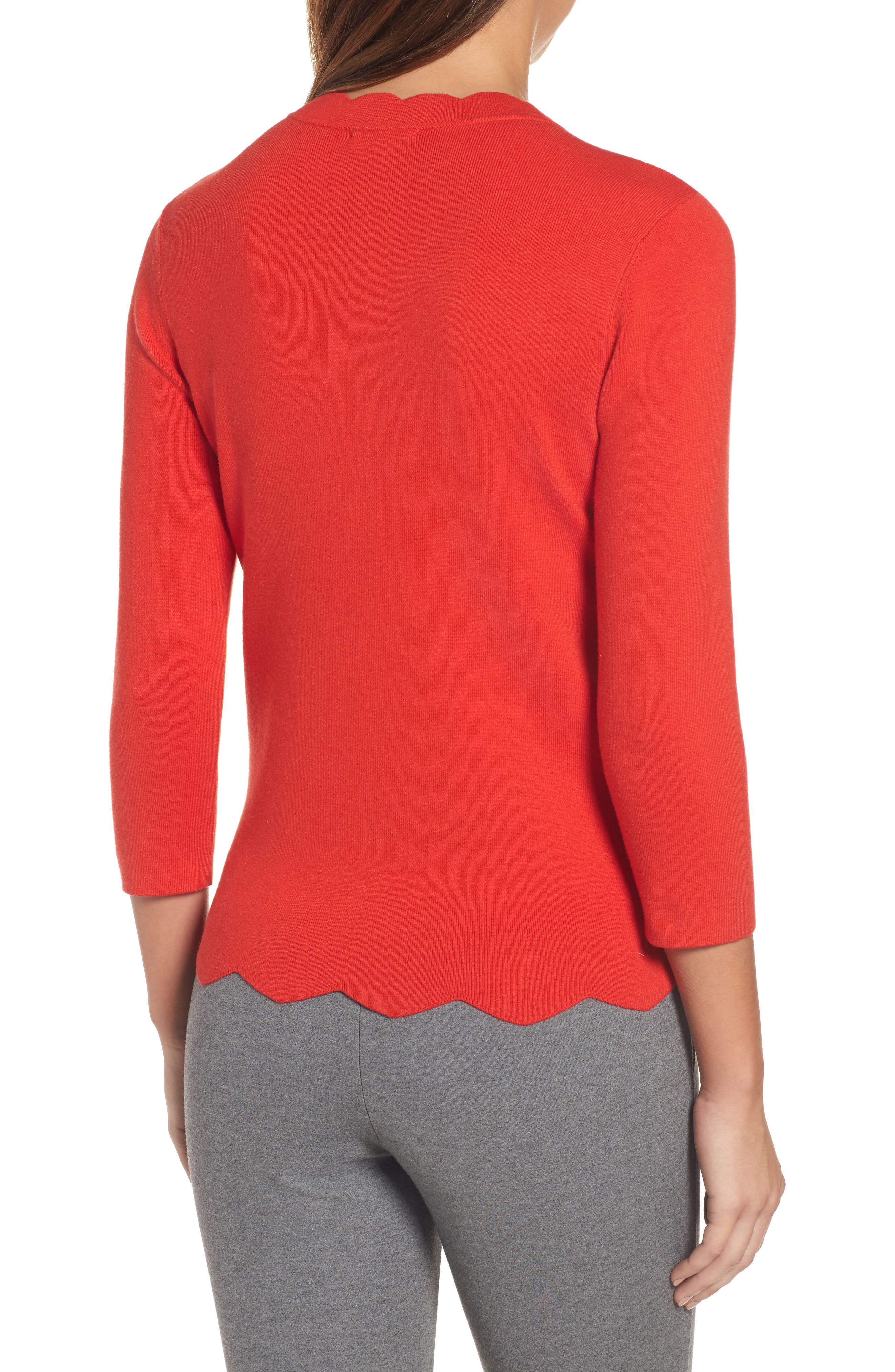 Alternate Image 3  - Halogen Scallop Edge Sweater (Regular & Petite)