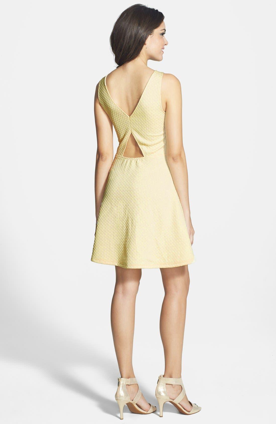 Alternate Image 2  - Frenchi® 'Spring Dot' Cutout Back Skater Dress (Juniors)